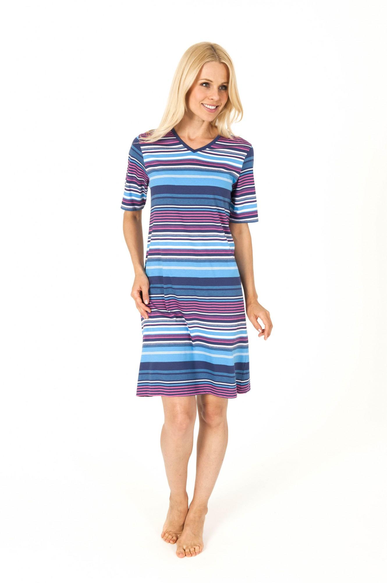 Schickes Damen Nachthemd kurzarm gestreift – 161 213 90 893 001