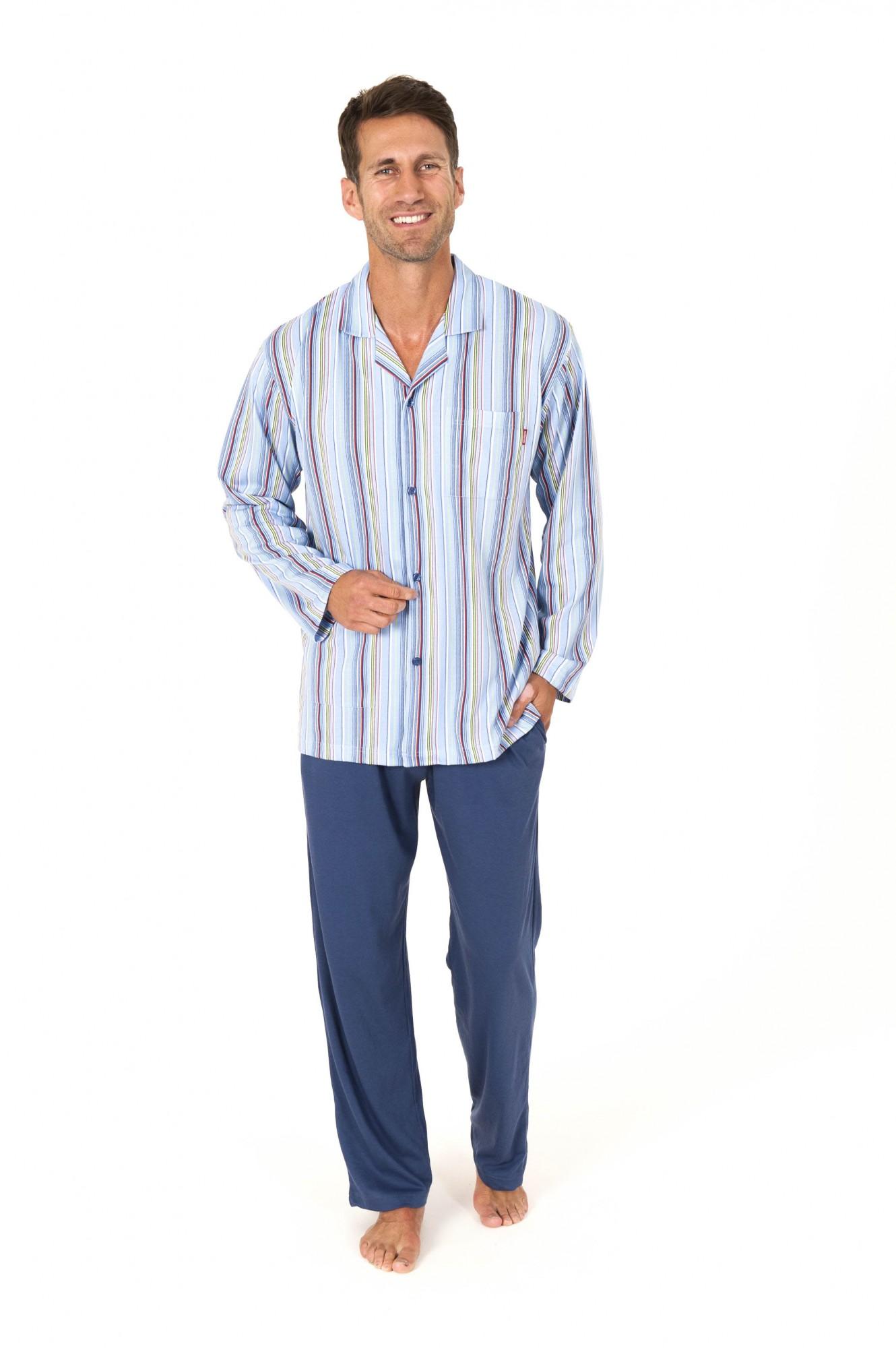 Herren Pyjama langarm durchknöpfbar gestreift auch in Übergrössen 101 90 404