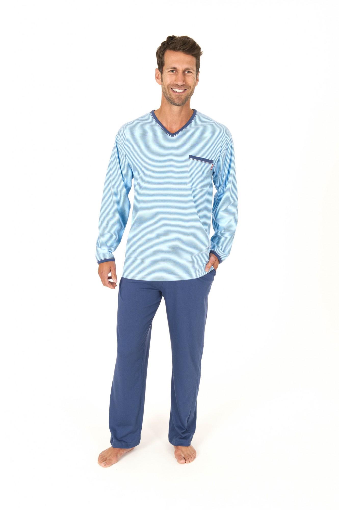Eleganter Herren Pyjama langarm  gestreift ProKlima – 161 101 90 702