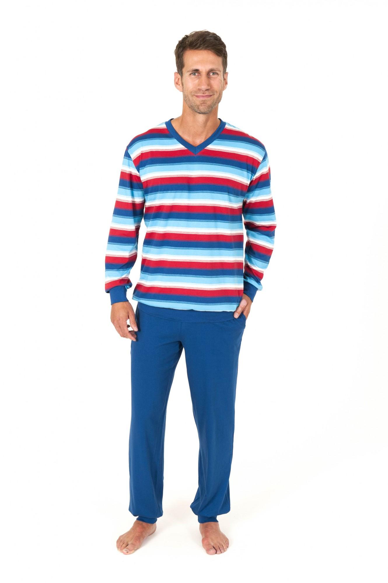 Herren Pyjama langarm mit Bündchen Ringel Optik – 161 101 90 705 001