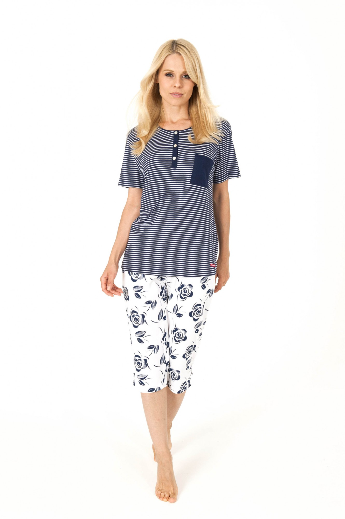 Damen Capri-Pyjama kurzarm – auch Grösse 32/34 und Übergrösse bis 60/62  - 204 90 881