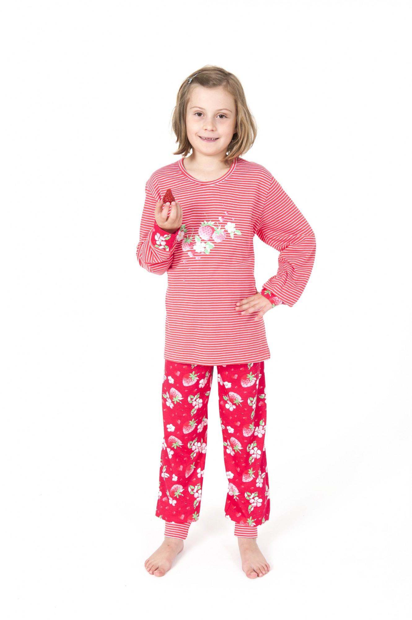 Cooler Mädchen Pyjama langarm mit Bündchen gestreift – 161 401 90 838 001