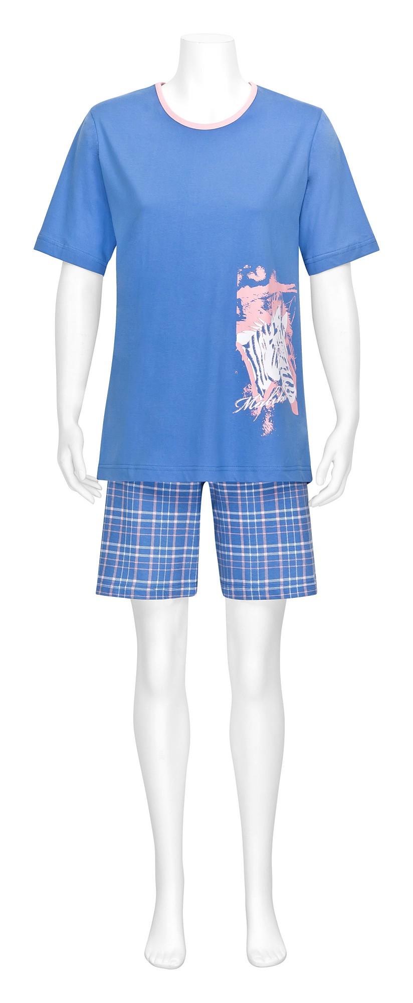 Damen Pyjama Shortie kurzarm mit Animalprint und karierter kurzer Hose – 57210