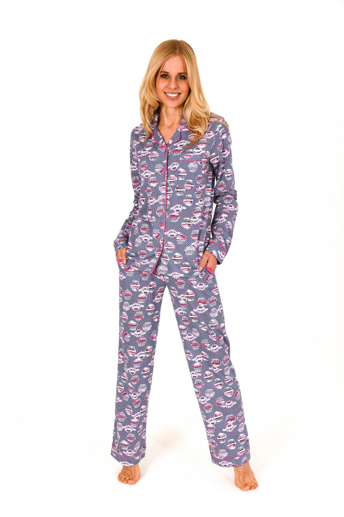 Damen Pyjama lang mit Cupcake-alloverdruck und durchknöpfbar 261 201 90 104 001