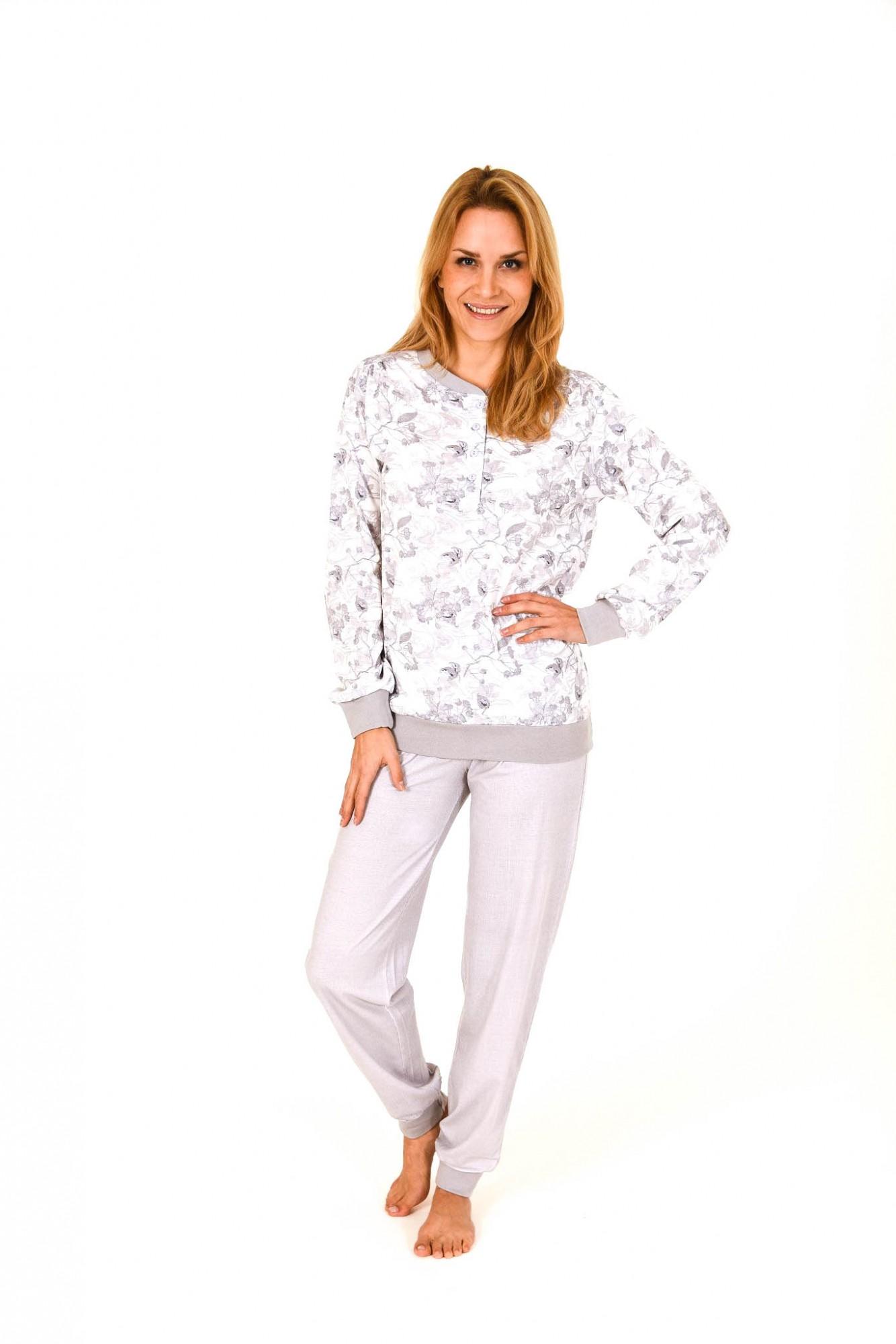 Eleganter Damen Pyjama langarm mit Bündchen  261 201 90 108