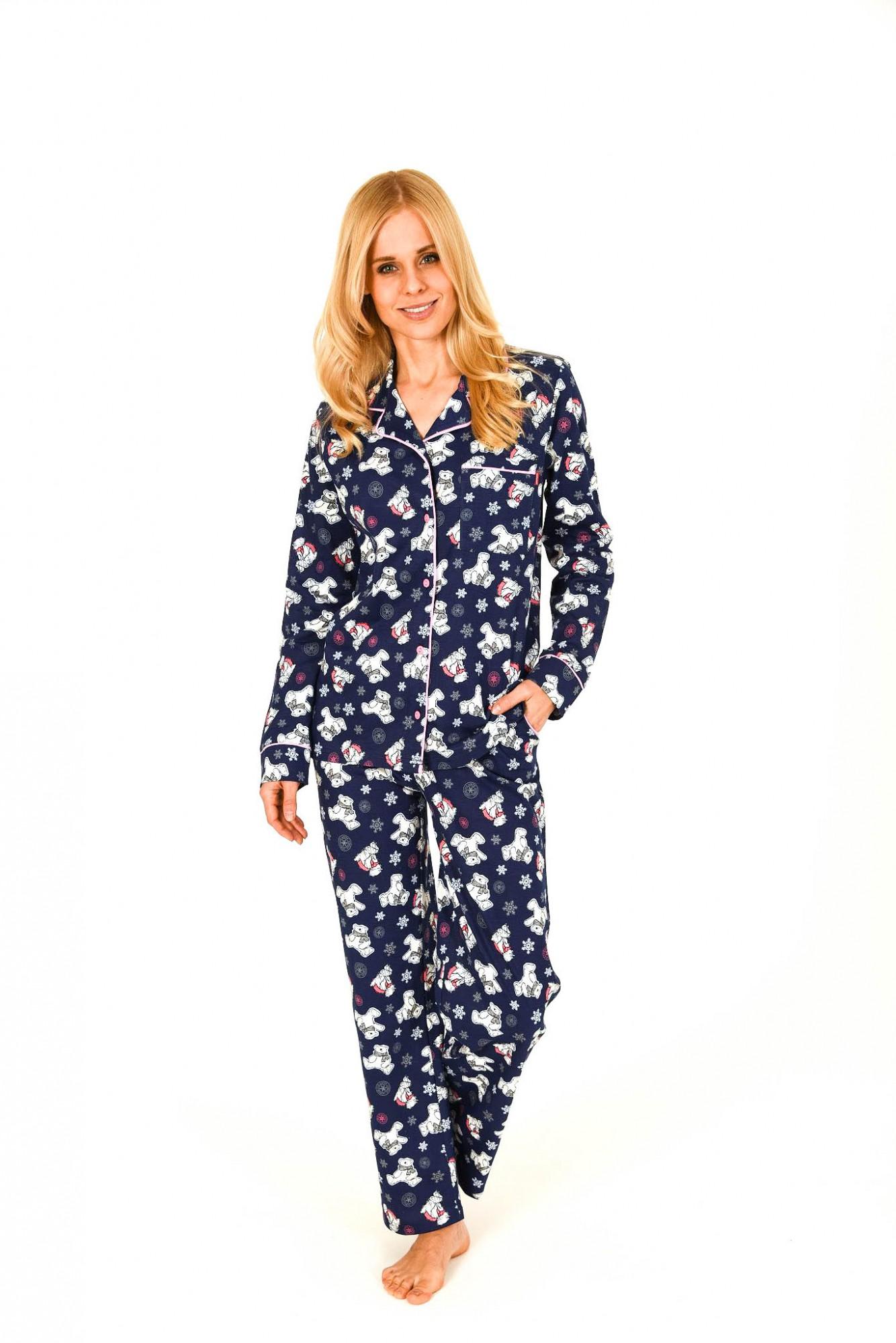 Damen Pyjama lang mit Bärchenmotiv und durchknöpfbar 261 201 90 123 001