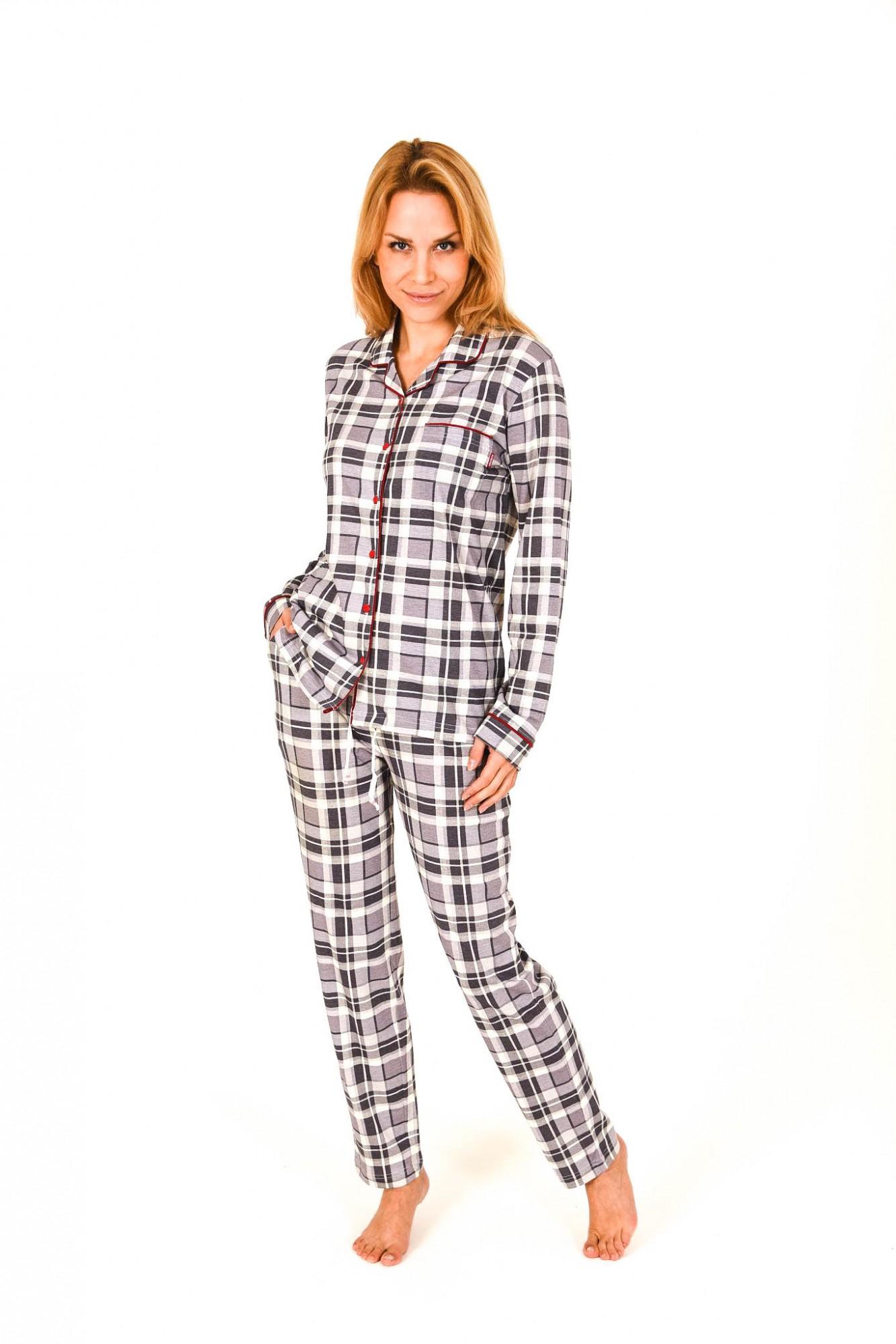 Damen Pyjama lang zum durchknöpfen im Karodesign
