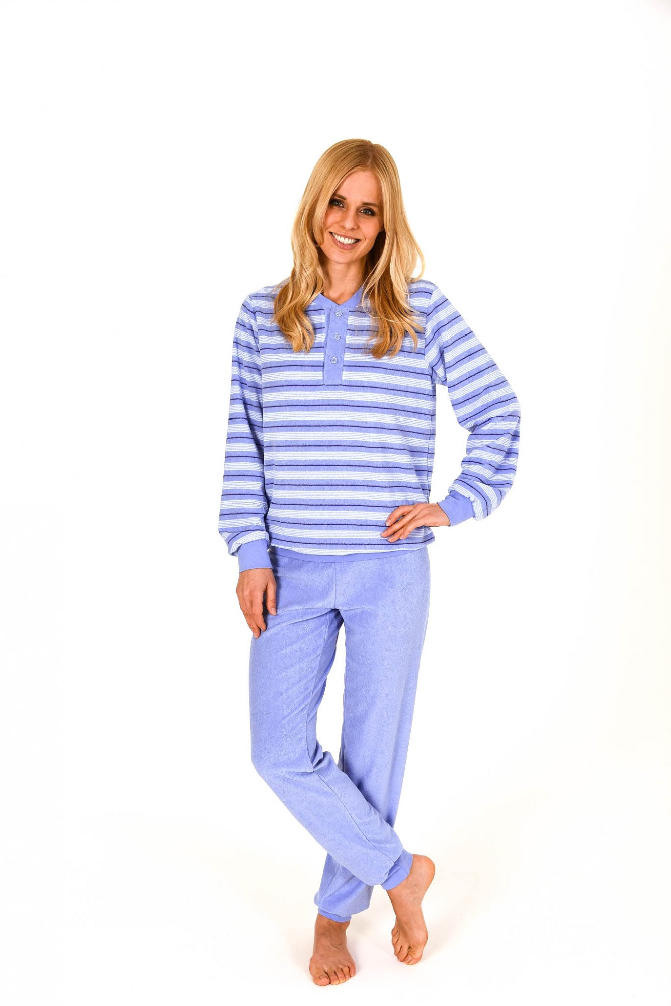 Damen Frottee Pyjama lang mit Bündchen und Knopfleiste – 261 201 93 139 001