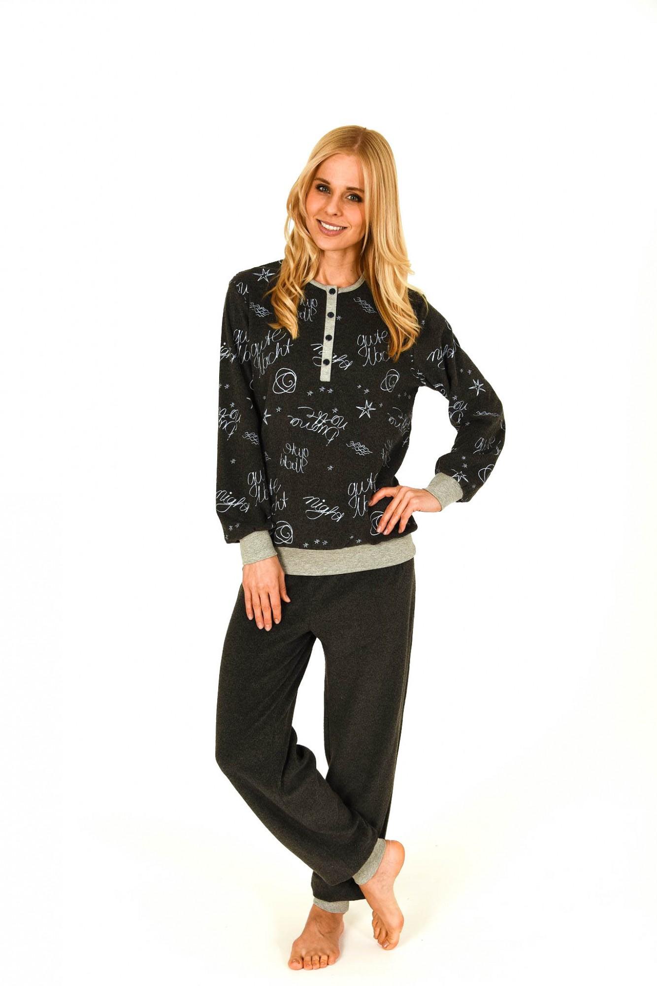Frottee Pyjama lang mit Bündchen und Knopfleiste – auch in grossen Grössen –  201 93 234