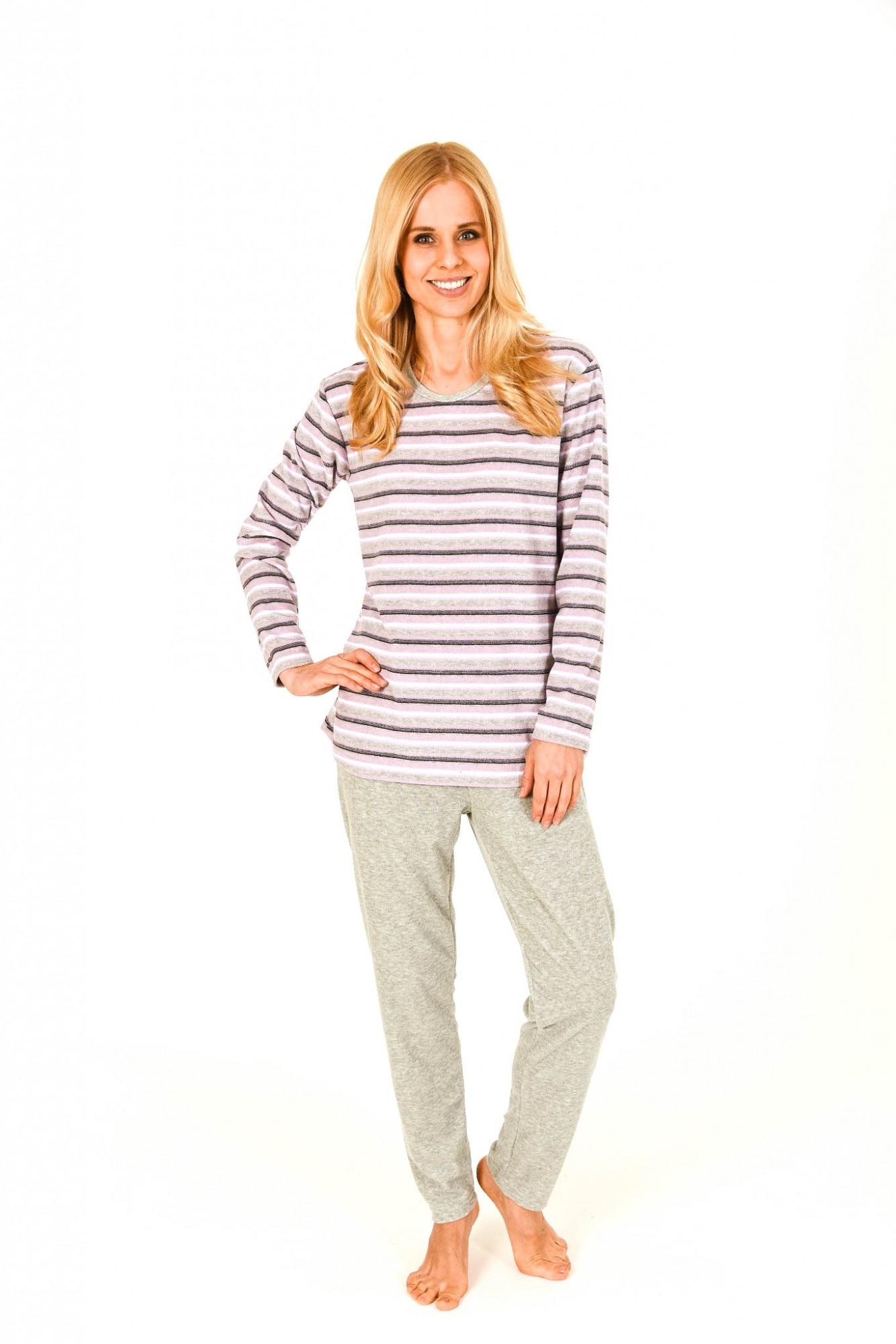 Damen Frottee Pyjama lang im Streifendesign – auch in Übergrössen – 201 93 235
