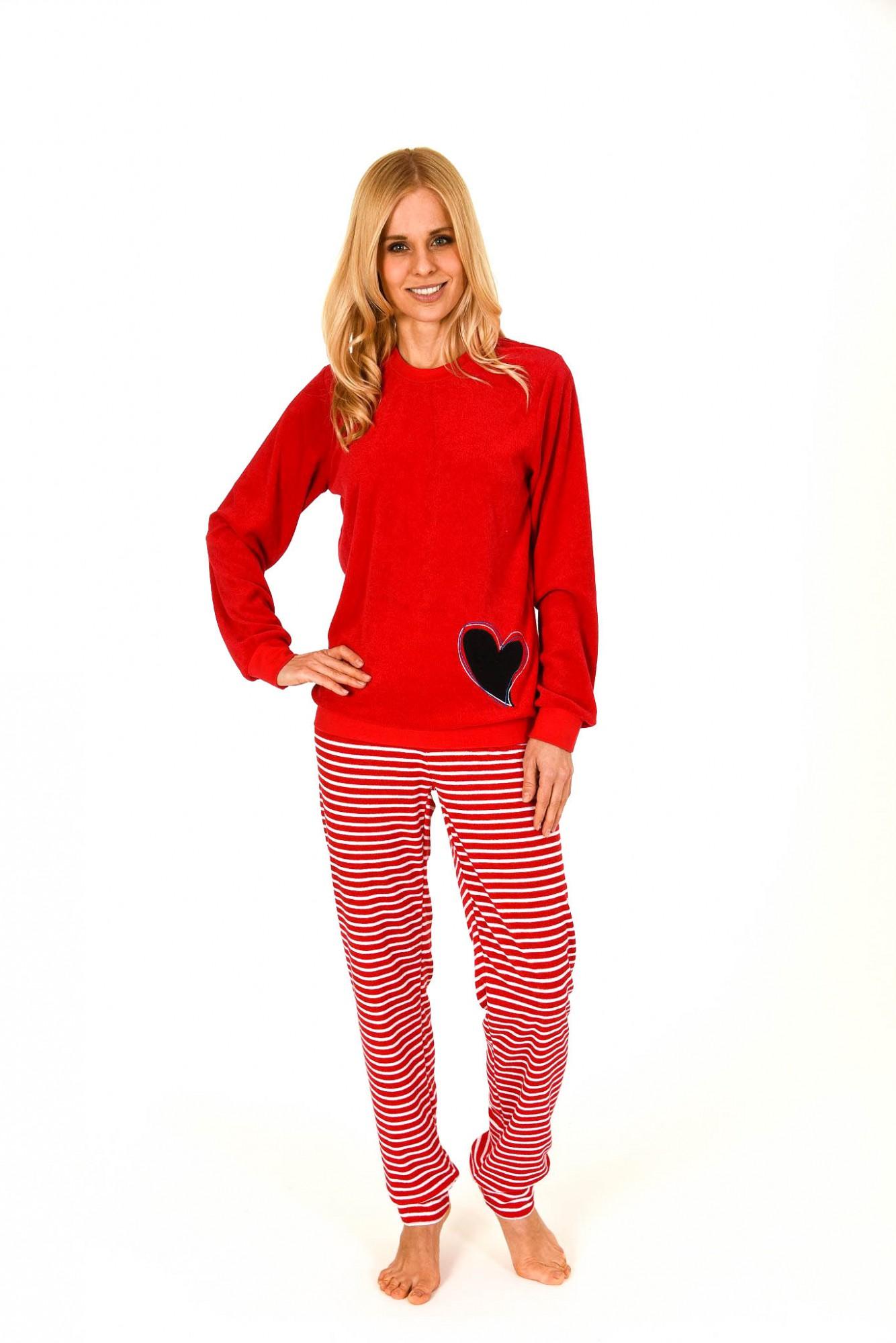 Damen Frottee Pyjama lang mit Bündchen und Herzapplikation – 261 201 93 242