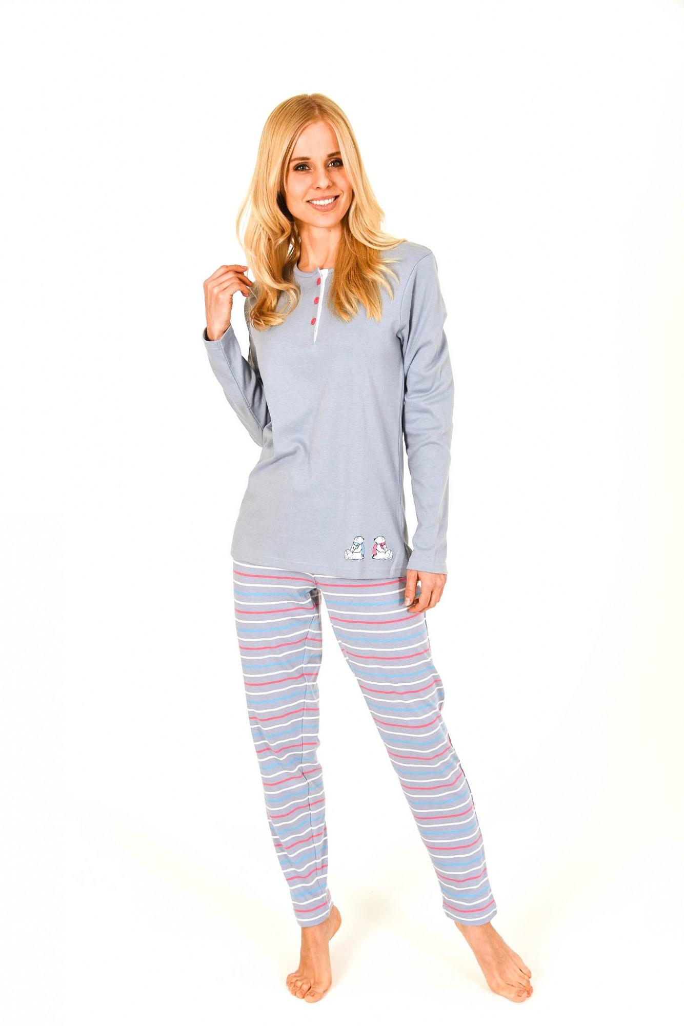 Damen Pyjama lang in Kuschel-Interlock-Qualität mit Bärchenapplikation – 201 96 226 001