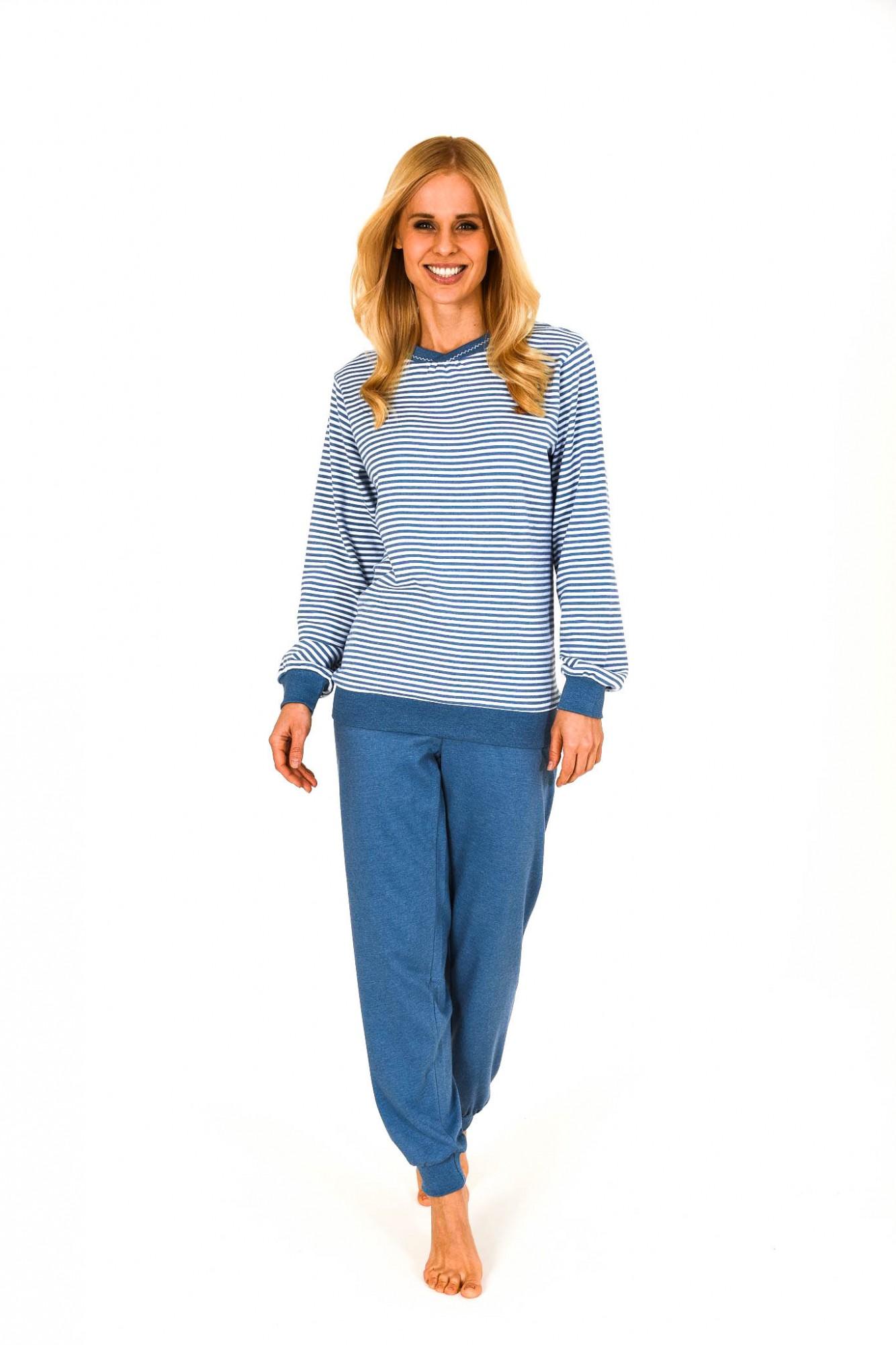 Edler Damen Pyjama lang mit Bündchen in Kuschel-Interlock-Qualität –  201 96 237 001