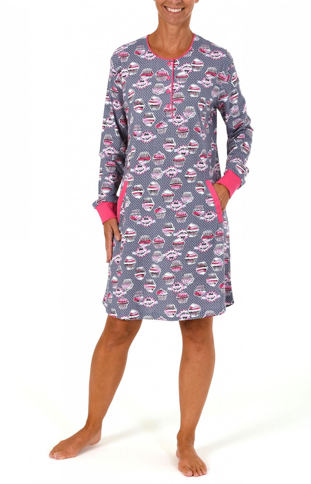 Cooles Damen Kurznachthemd mit Cupcake-Print und Bündchen – 261 213 90 103 – Bild 2