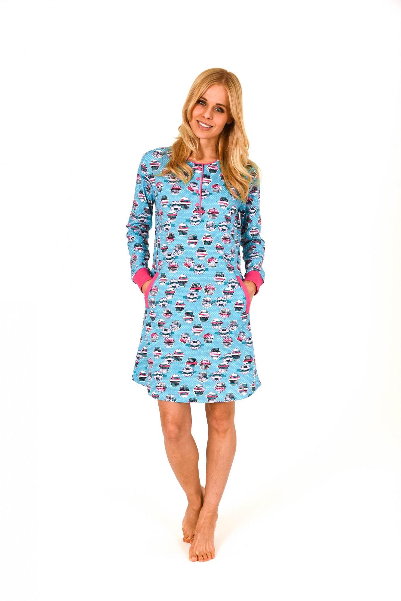 Cooles Damen Kurznachthemd mit Cupcake-Print und Bündchen – 261 213 90 103 001