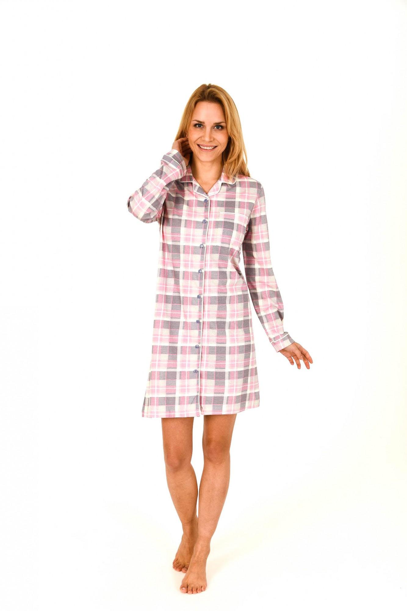 Damen Nachthemd im Karodesign zum durchknöpfen – 261 213 90 242