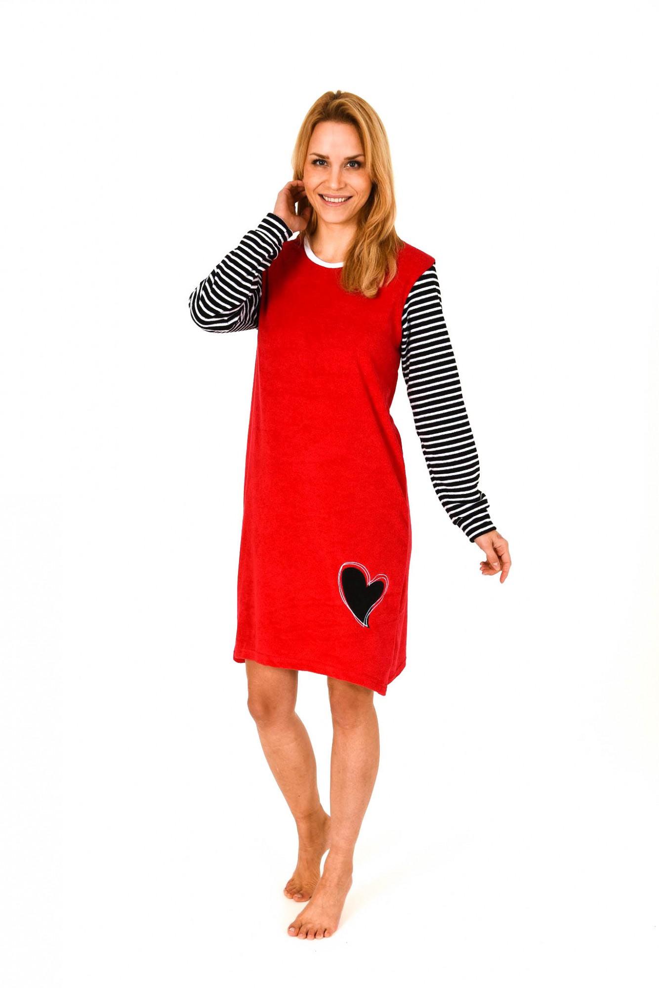 Damen Frottee Nachthemd langarm mit Herzmotiv – 261 213 93 242 – Bild 1