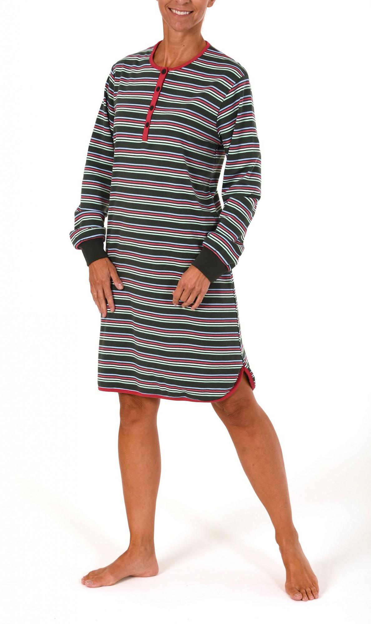 Damen Kurz Nachthemd in Kuschel Interlock Qualität geringelt – 261 213 96 120 – Bild 2