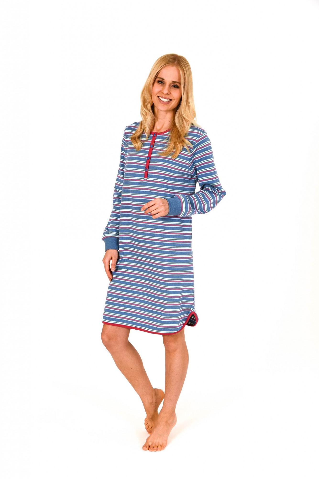 Damen Kurz Nachthemd in Kuschel Interlock Qualität geringelt – 261 213 96 120 001