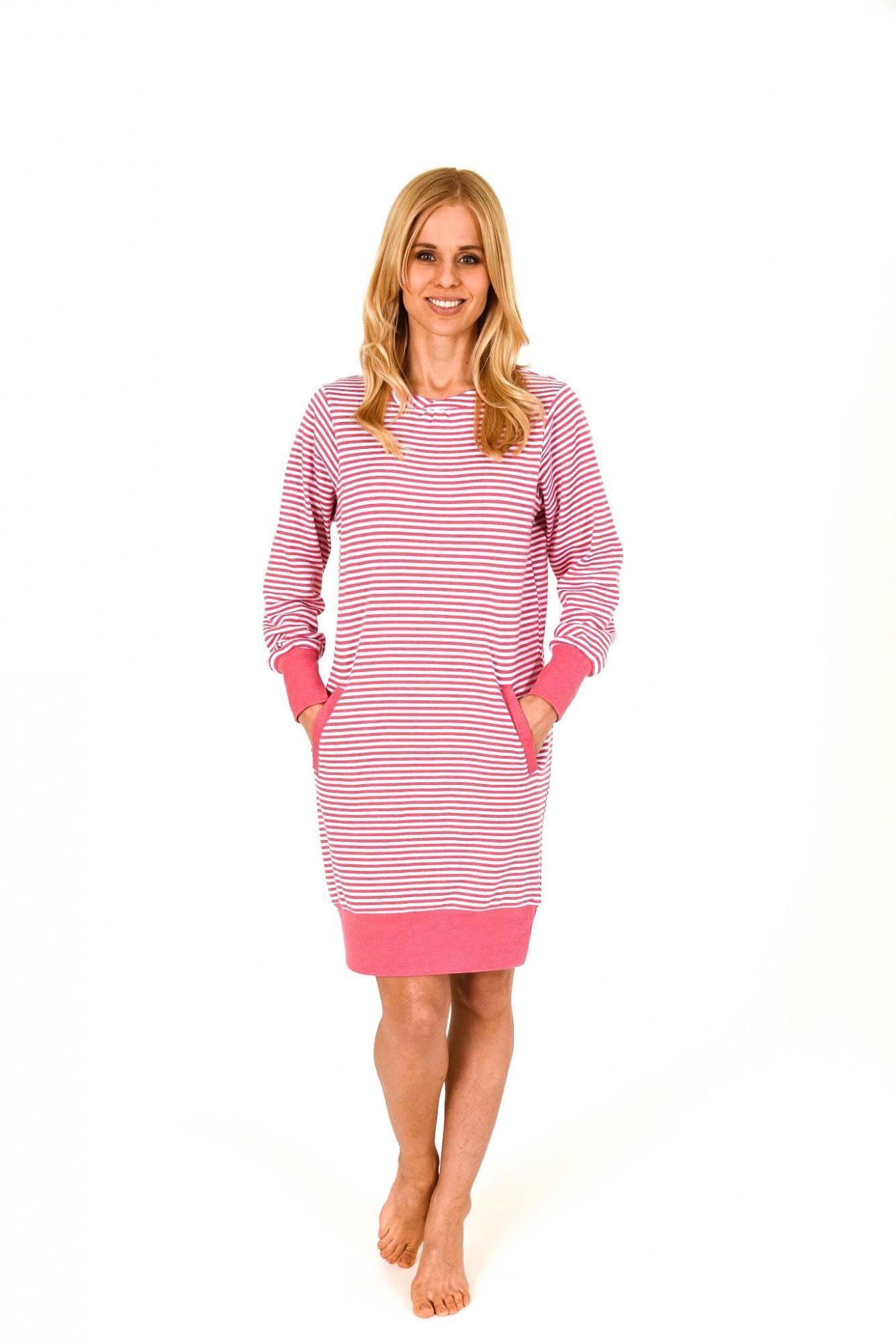 Lässiges Damen Nachthemd langarm mit Kängurutasche – 261 213 96 237 001