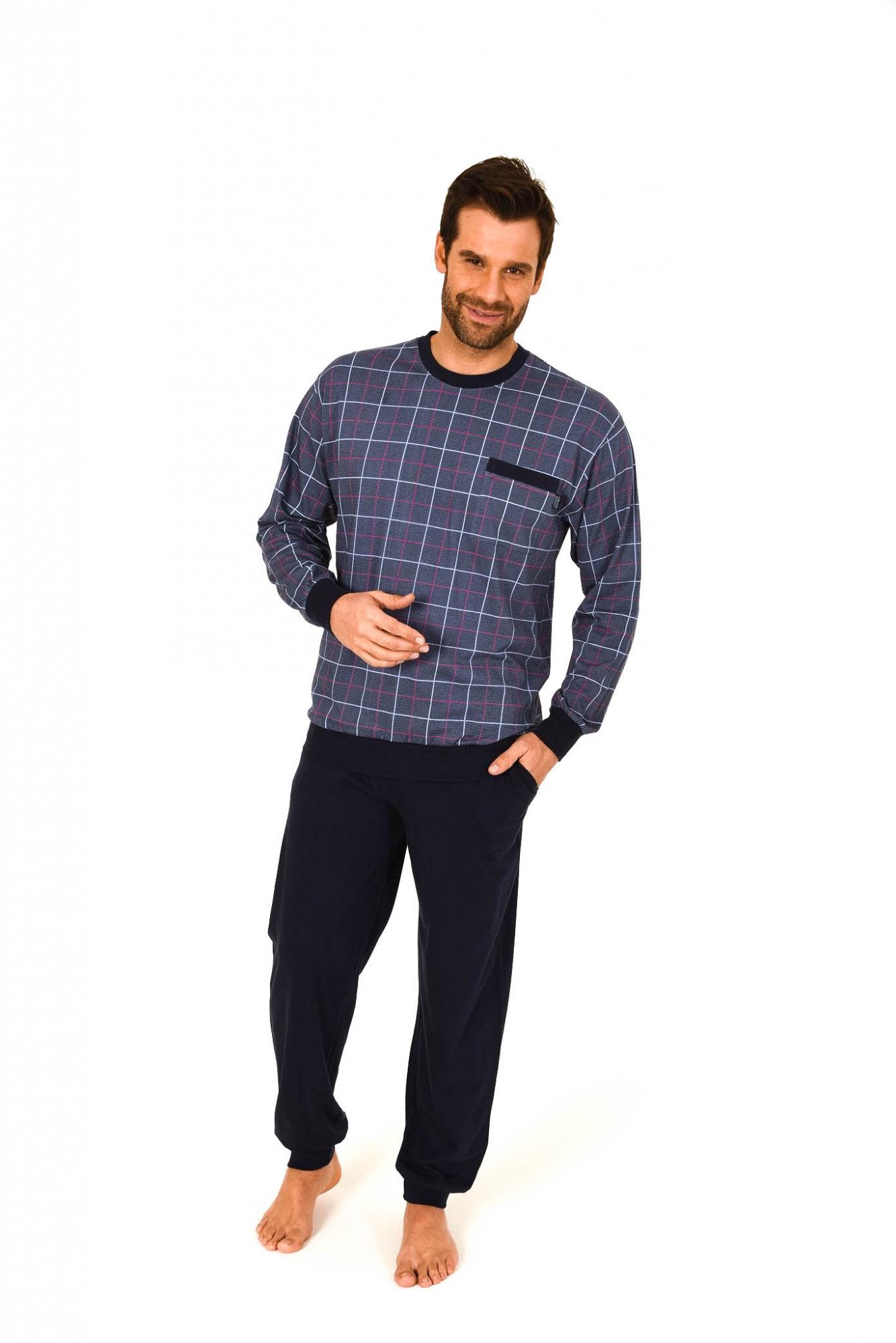 Herren Pyjama lang mit Bündchen – Karooptik – 261 101 90 482