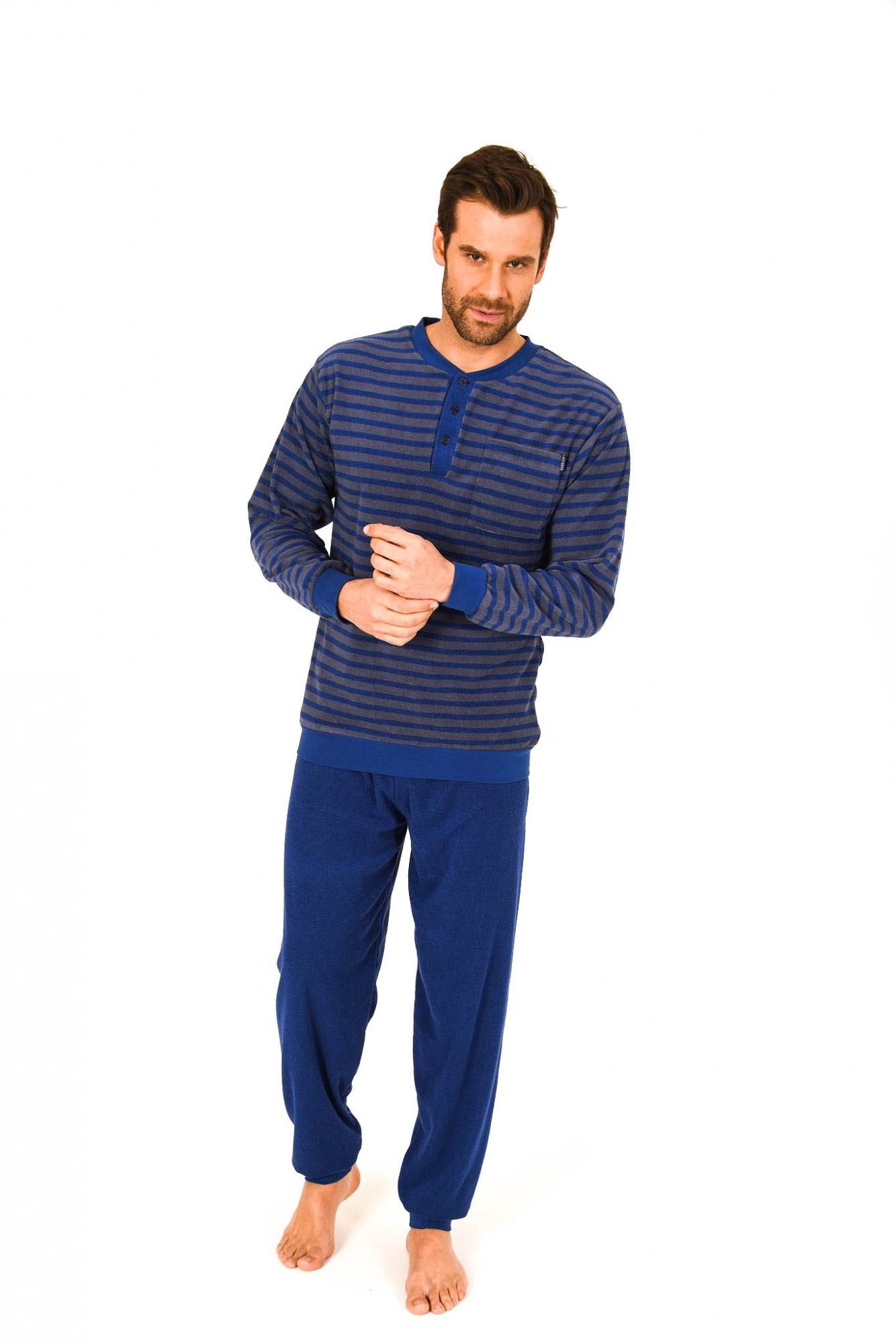 Herren Frottee Pyjama lang mit Bündchen und Knopfleiste am Hals 261 101 93 730