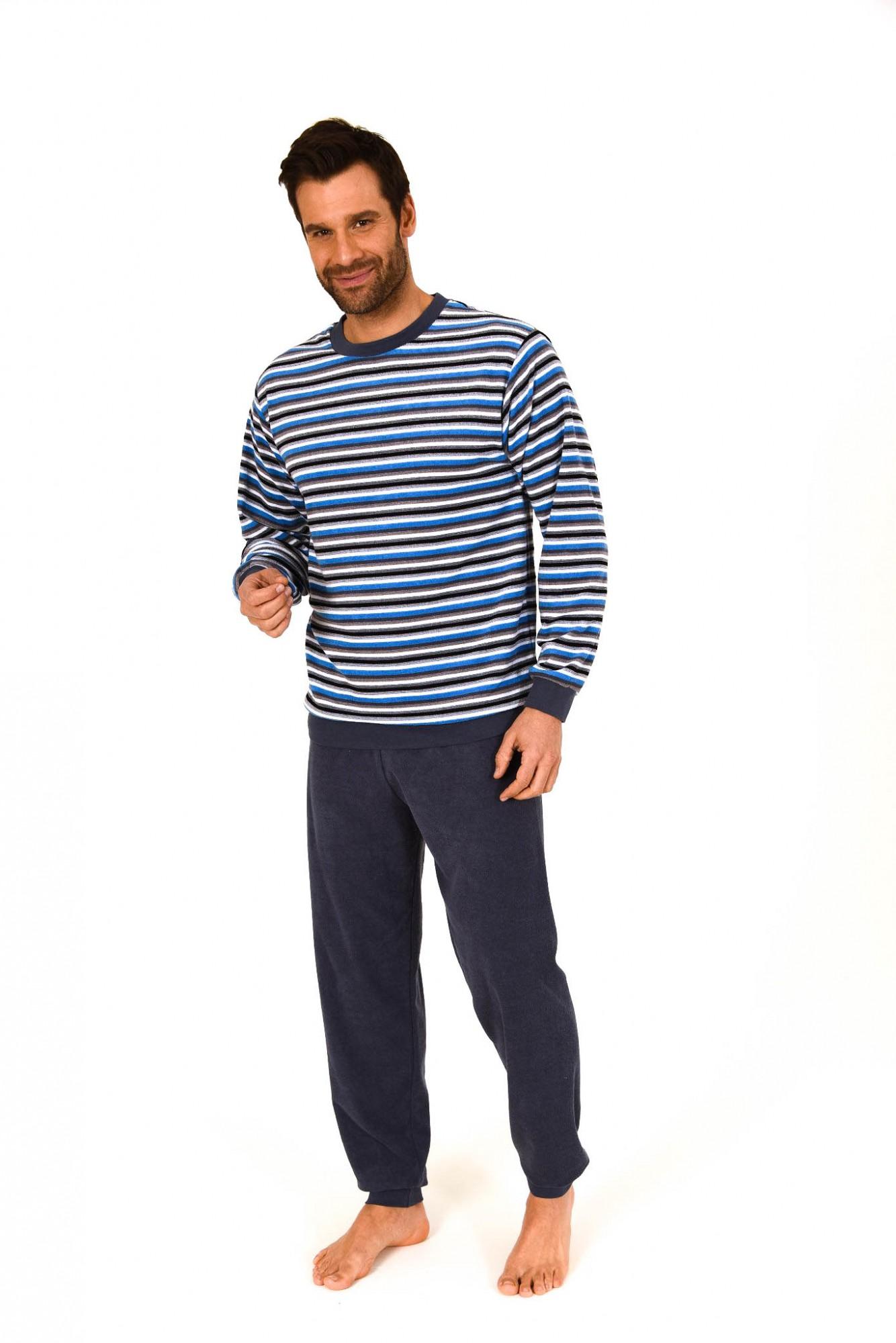 Herren Frottee Pyjama lang mit Bündchen – Ringeldessin – 261 101 93 732 001