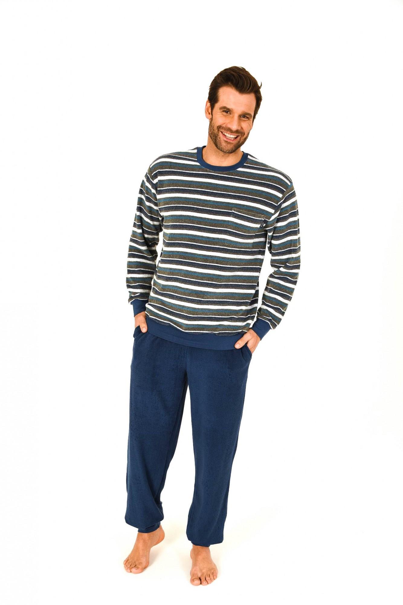herren frottee pyjama schlafanzug lang mit b ndchen. Black Bedroom Furniture Sets. Home Design Ideas