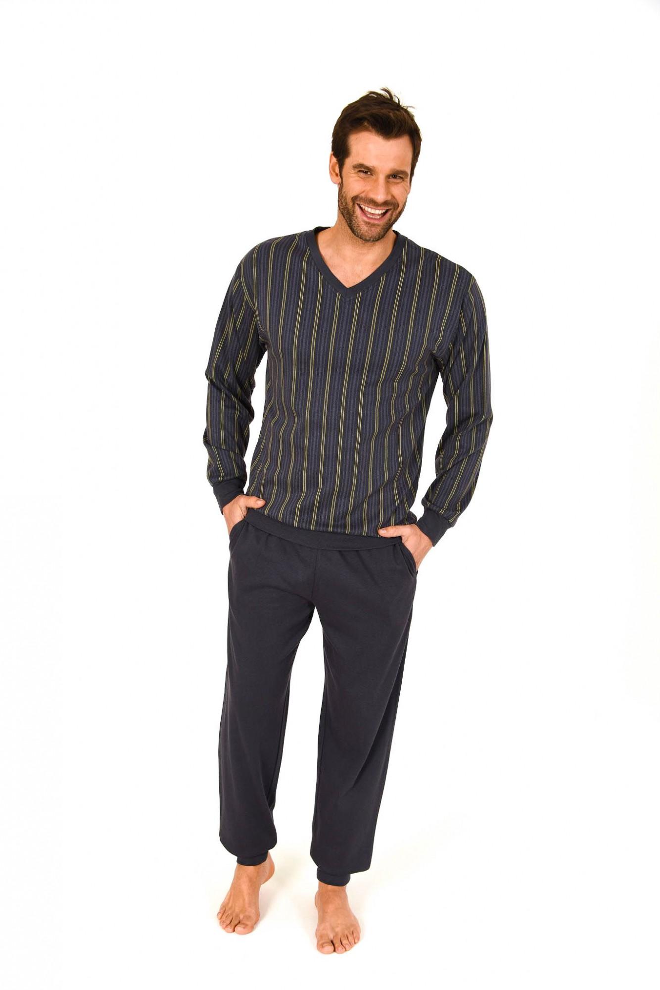 edler herren interlock pyjama lang gestreift mit b ndchen. Black Bedroom Furniture Sets. Home Design Ideas