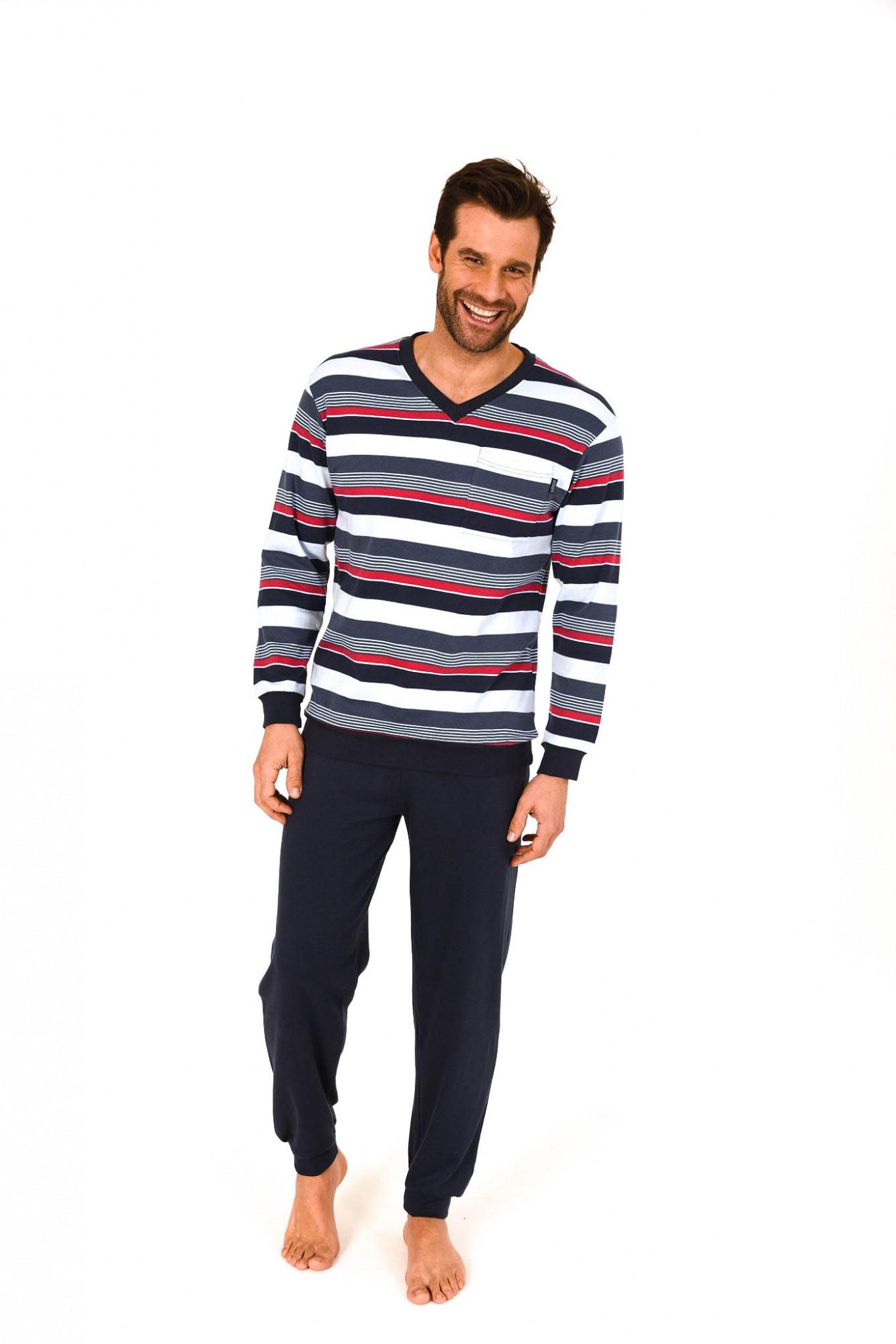 Herren Pyjama Schlafanzug lang mit Bündchen und V-Hals – Interlock - 261 101 96 786