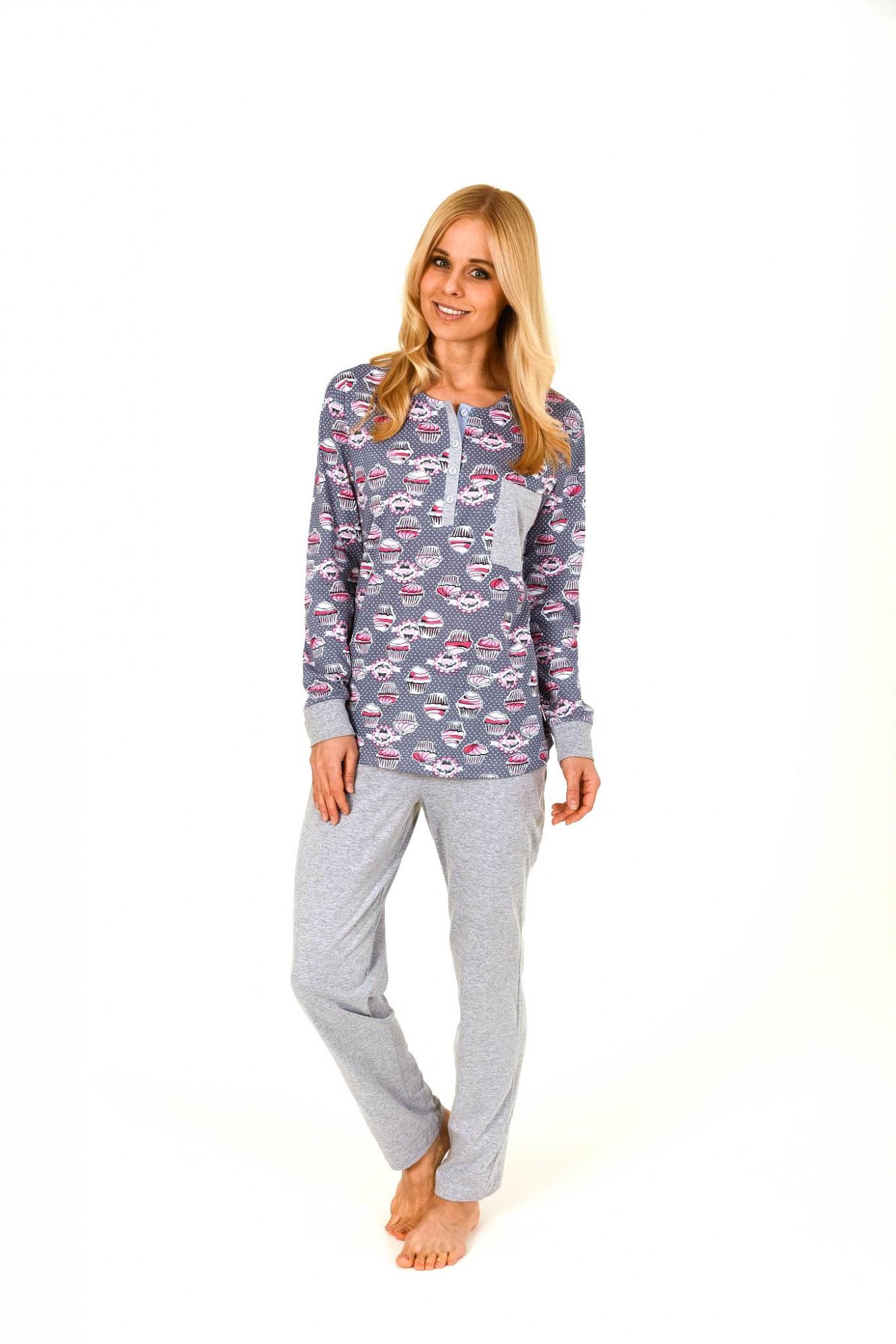 Damen Pyjama lang mit Bündchen und Cupcake-Druck – 261 201 90 193 001