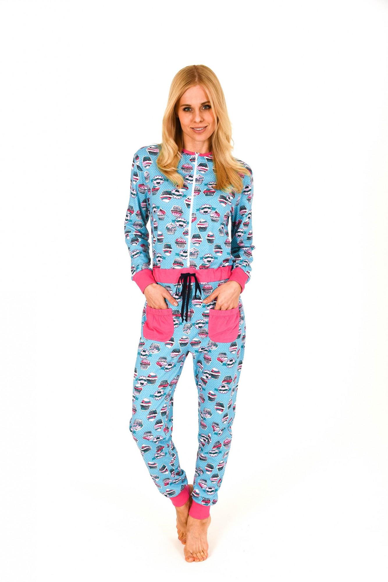 Damen Schlafanzug Einteiler Jumpsuit Overall langarm mit tollen Motiv 267 90 104 – Bild 1
