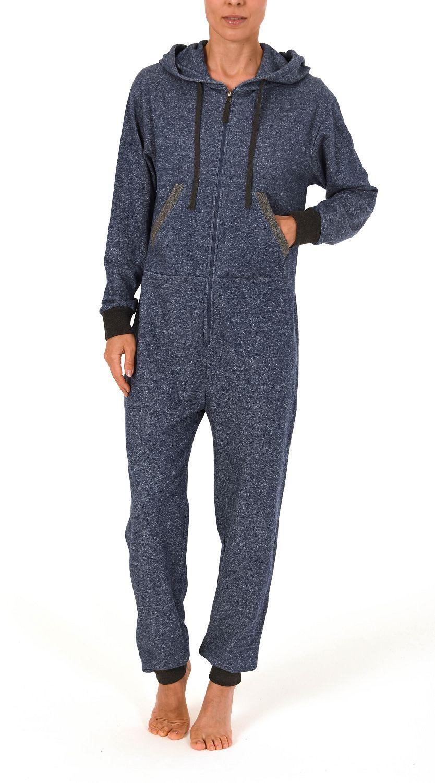 Damen Jumpsuit Overall Schlafanzug Einteiler langarm 267 99 444 – Bild 1