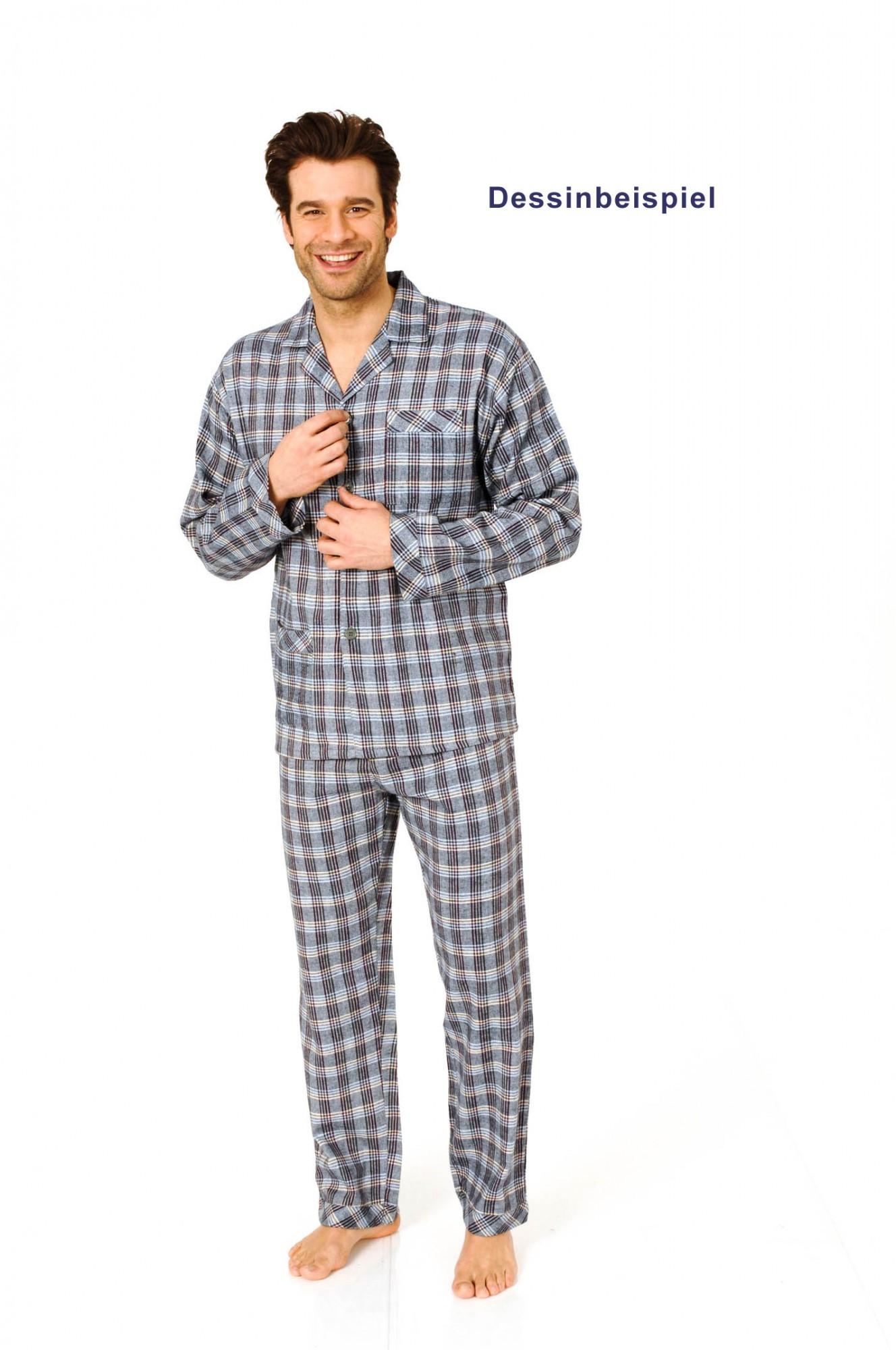 auch in Übergrössen Herren Pyjama langarm zum durchknöpfen Streifenoptik