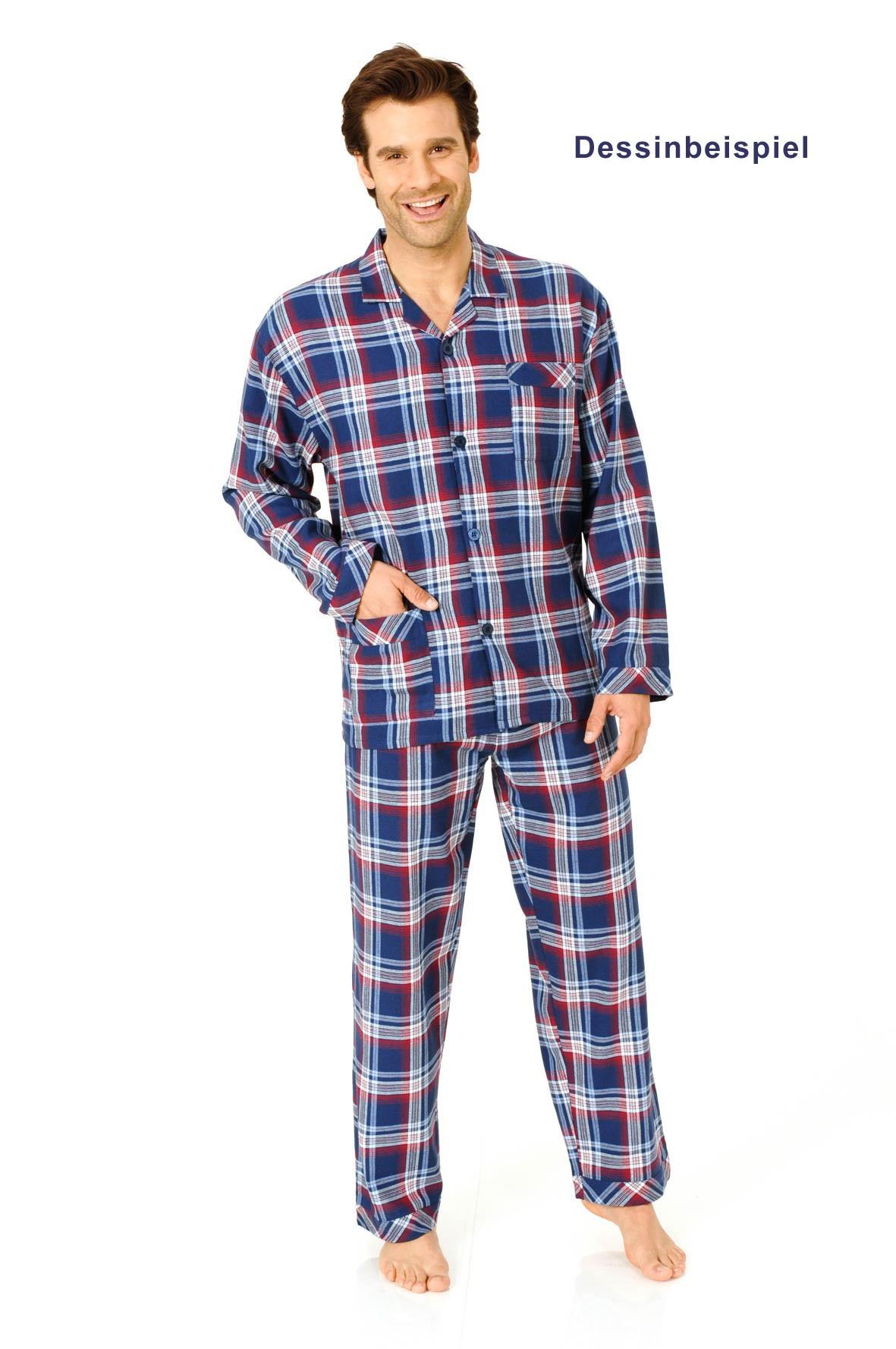 Herren Flanell Pyjama zum durchknöpfen in Übergrössen - 2erpack - bis Grösse 66