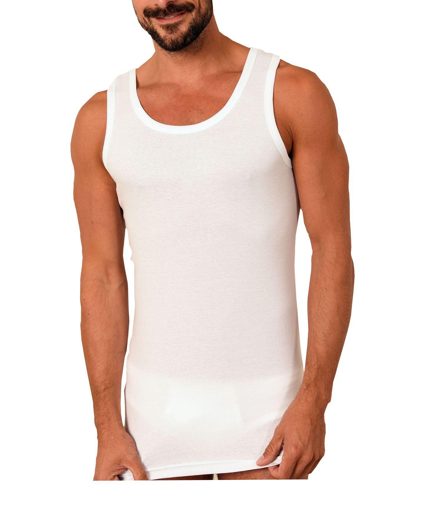 55001 Herren Achselhemd Feinripp Unterhemd 2erpack weiss aus 100 % Baumwolle