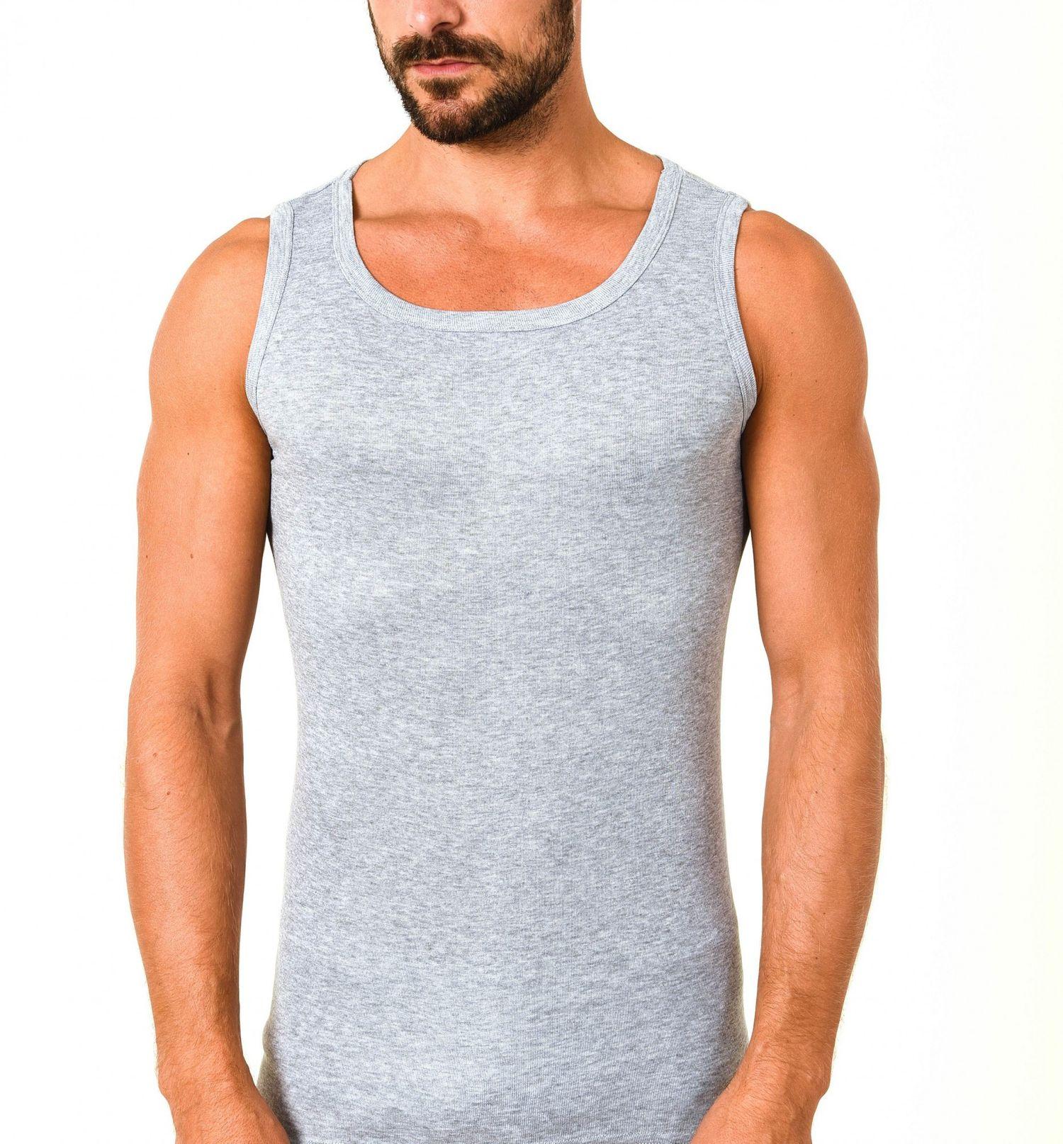 Herren Achselhemd Feinripp Tanktop Unterhemd 2erpack  aus 100 % Baumwolle 54981 – Bild 2