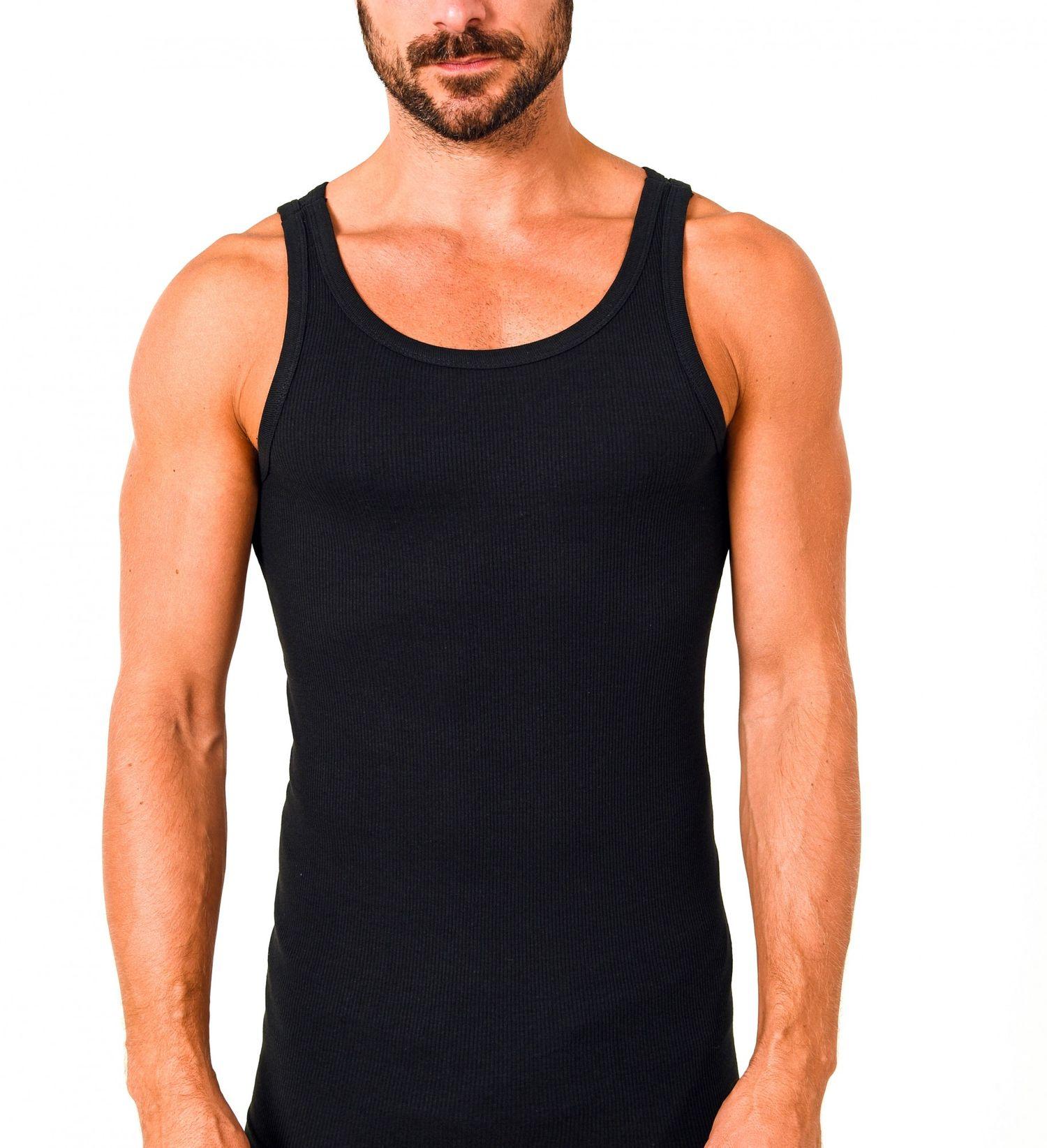 10403 Herren Achselhemd 2erpack in schwarz Feinripp Unterhemd  aus 100 % Baumwolle