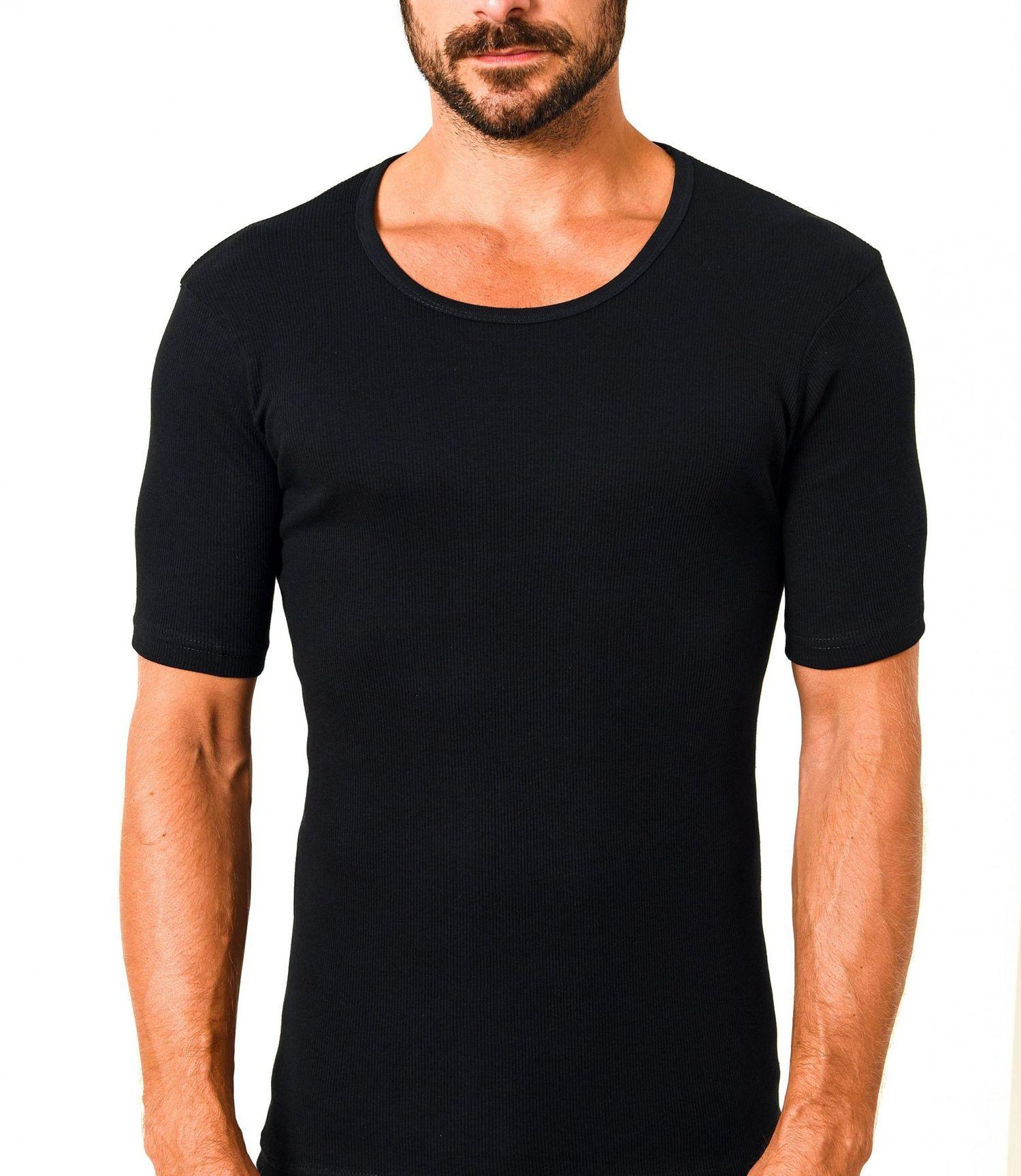 10427 Herren Unterhemd kurzarm 1/2-Arm Doppelripp 2erpack schwarz – Bild 1
