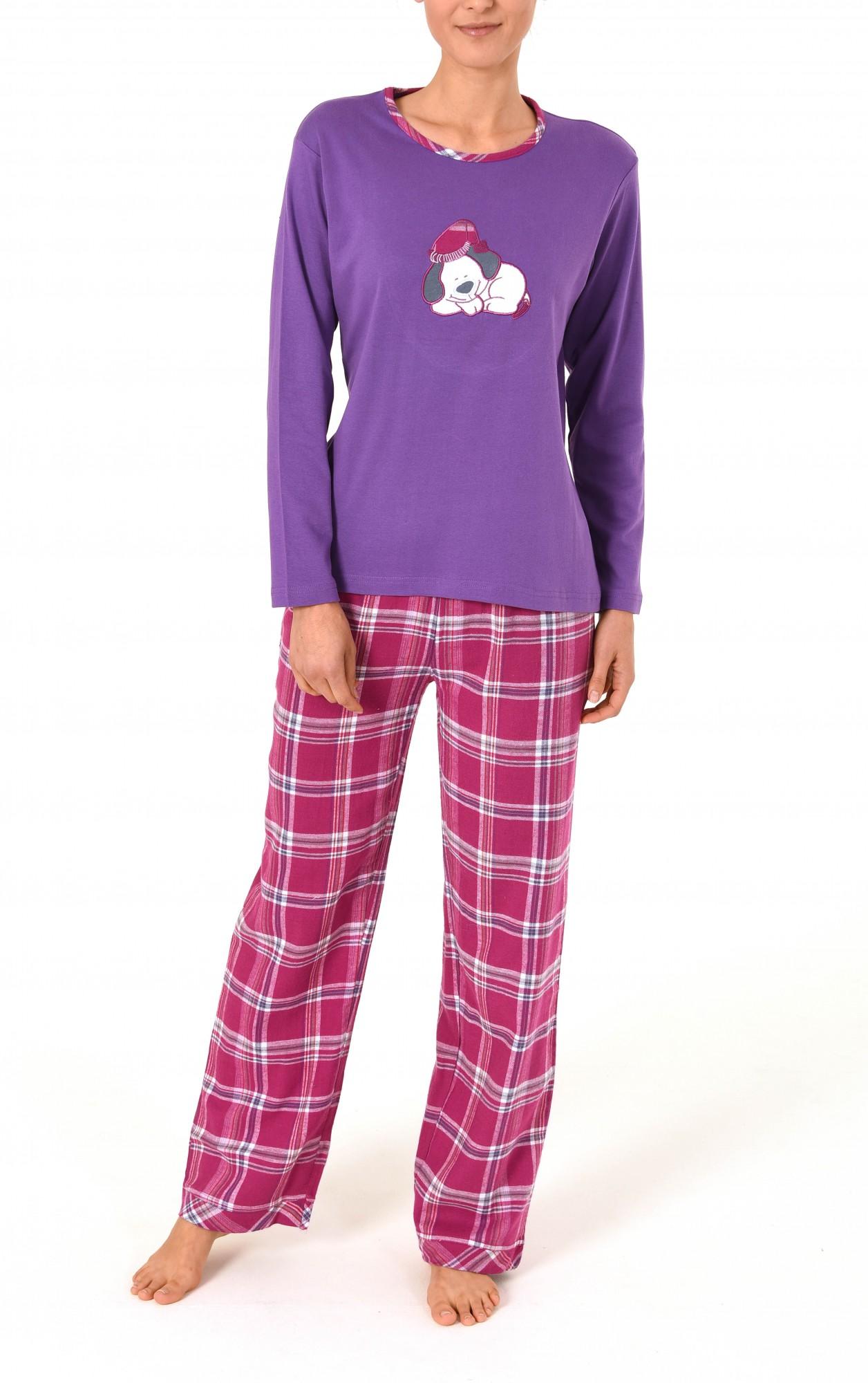 Damen Flanell Pyjama Mix & Match – Hose Flanell Oberteil Interlock  – Bild 2