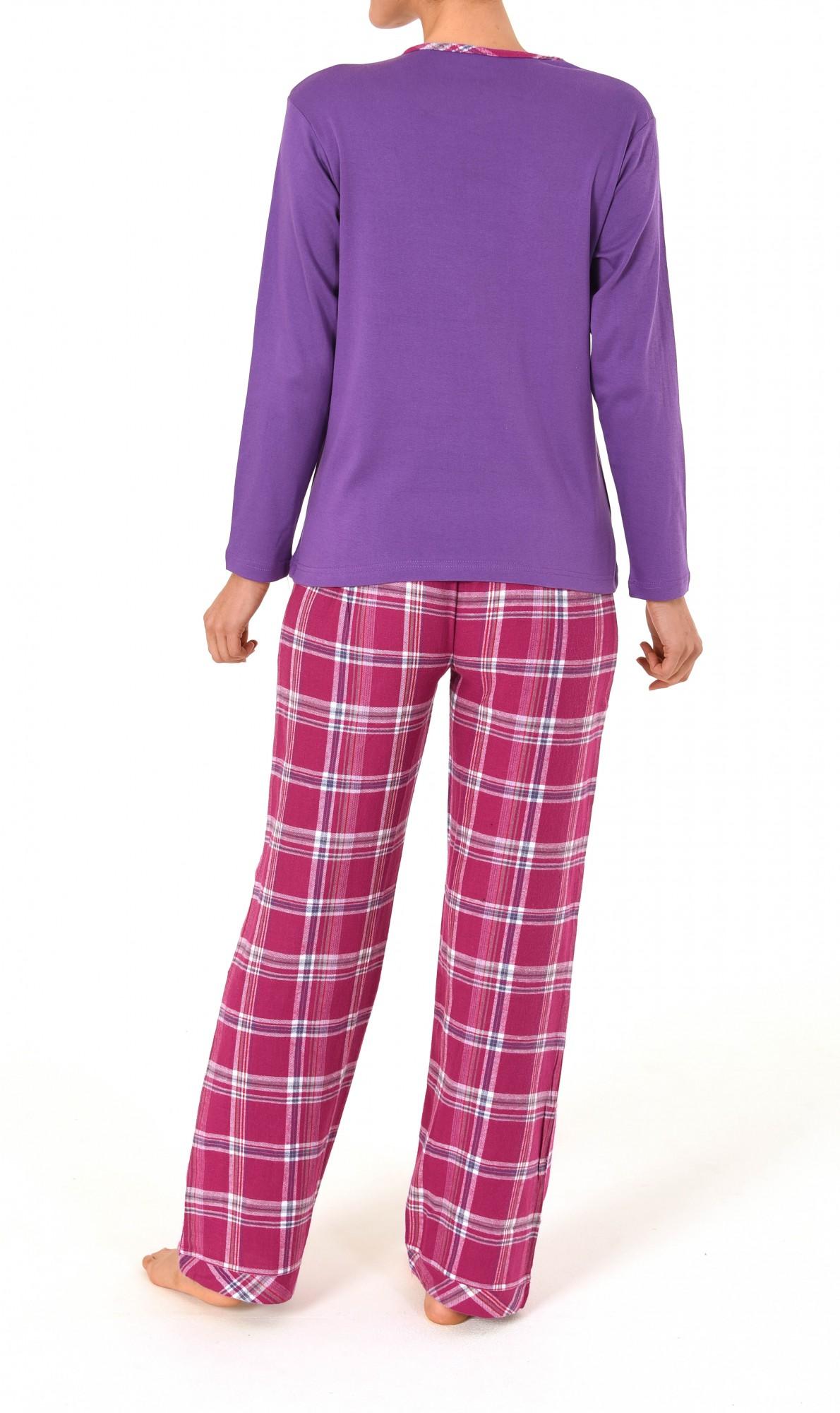 Damen Flanell Pyjama Mix & Match – Hose Flanell Oberteil Interlock  – Bild 4
