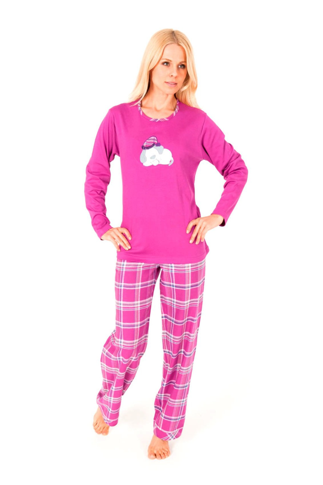 Damen Flanell Pyjama Mix & Match – Hose Flanell Oberteil Interlock  001