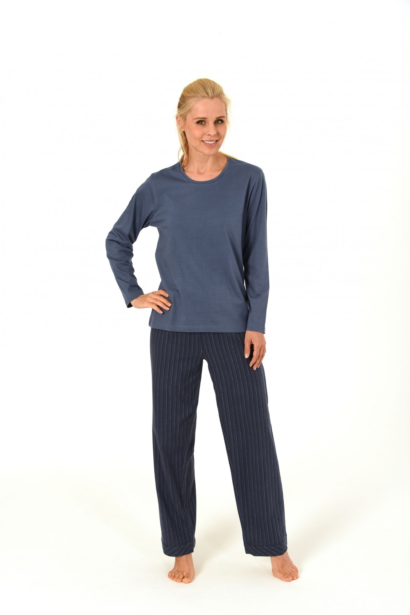 Damen Flanell Pyjama Mix & Match – Hose Flanell Oberteil Single Jersey 55843  001