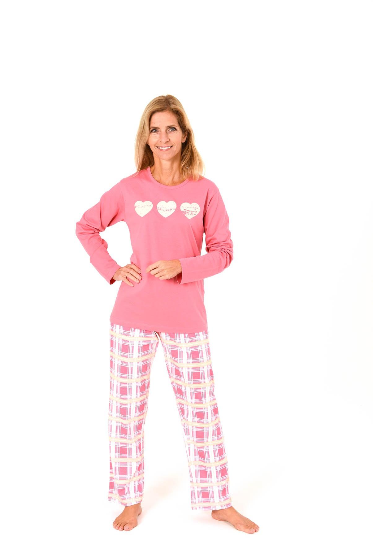 Damen Pyjama lang mit karierter Hose und Herz Motiv - 58407 001