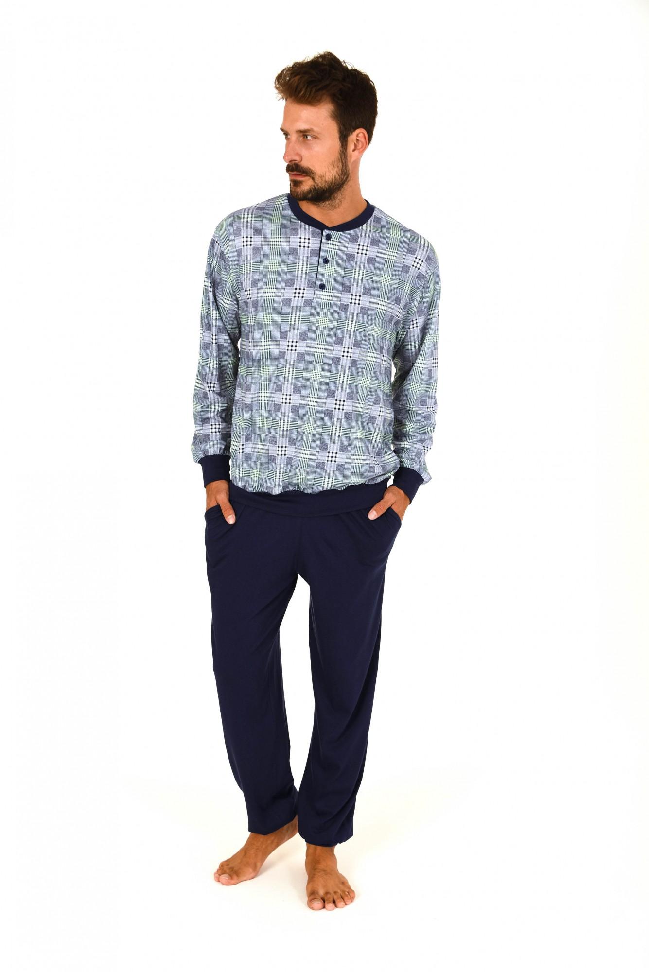 Eleganter Herren Pyjama langarm mit Bündchen Karo-Dessin 171 101 90 408 – Bild 1