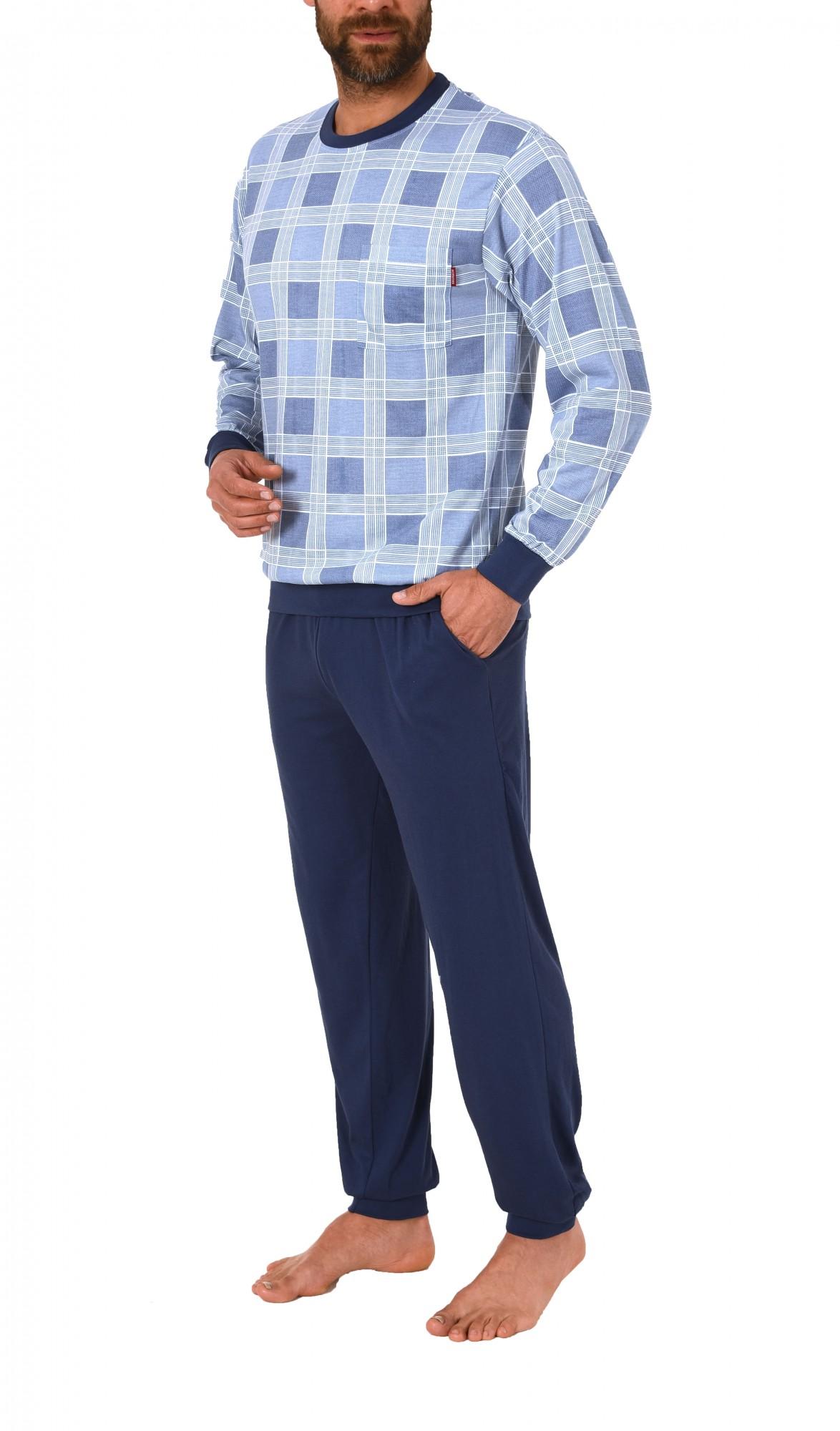 Edler Herren Pyjama langarm mit Bündchen – auch in Übergrössen – 171 101 90 427 – Bild 3