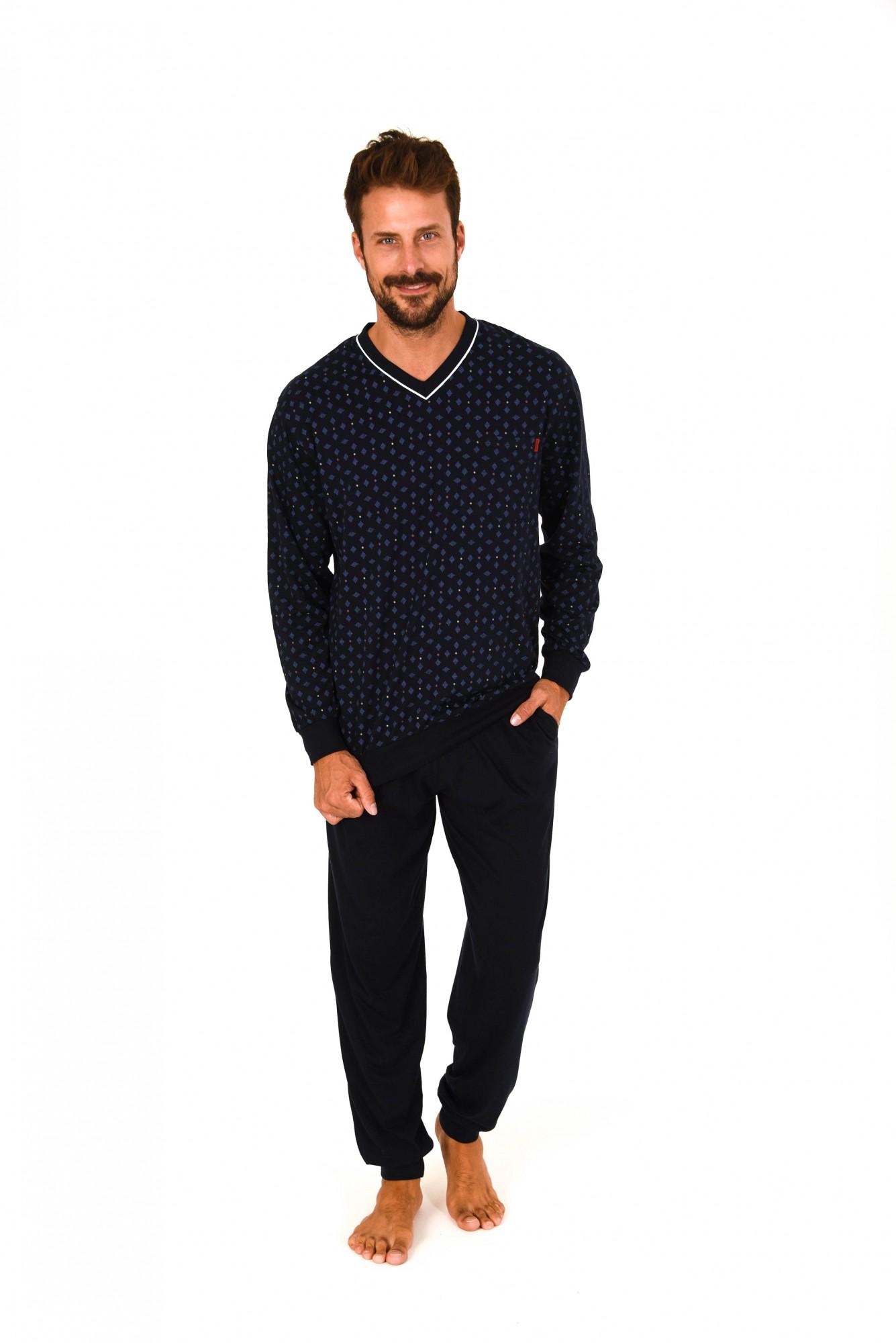 Herren Pyjama langarm mit Bündchen – auch in Übergrössen bis Gr. 70 – 101 90 429