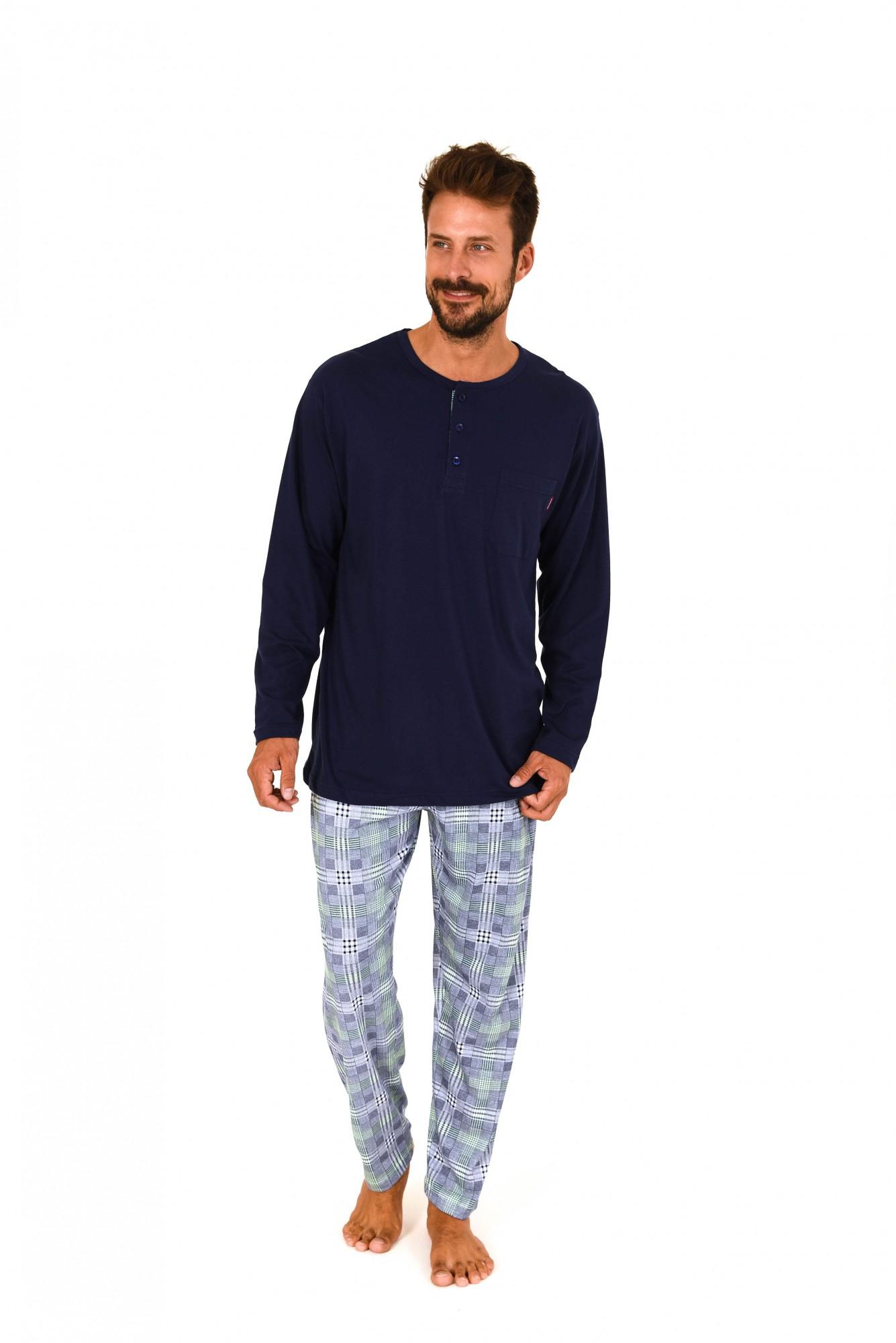 Herren Pyjama langarm Schlafanzug Mix & Match Optik – karierte Hose – 101 90 601