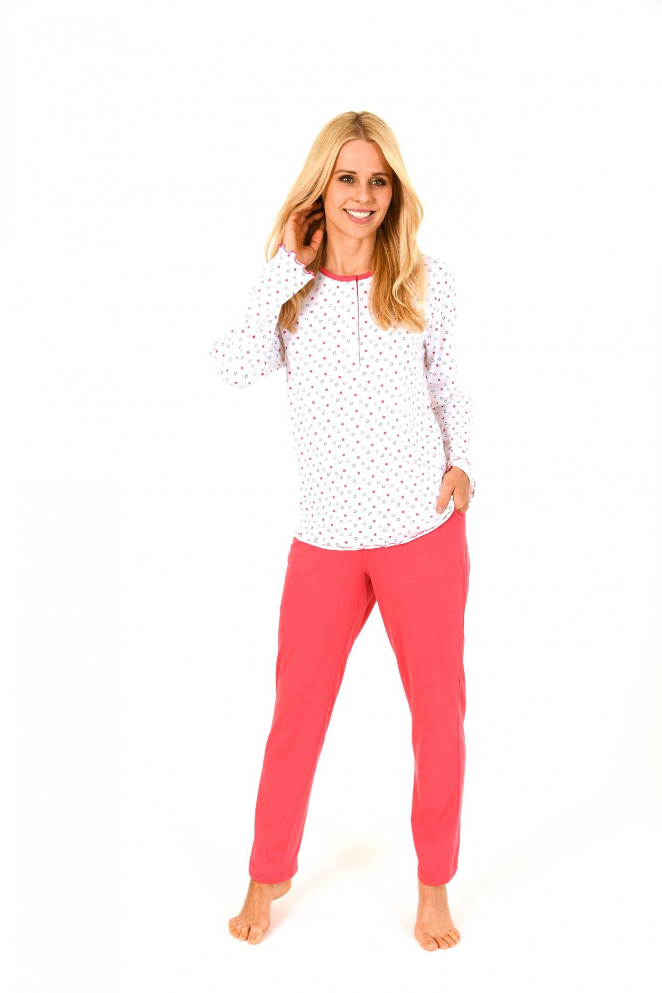 Edler Damen Pyjama langarm mit Tupfen Druck – 171 201 90 807