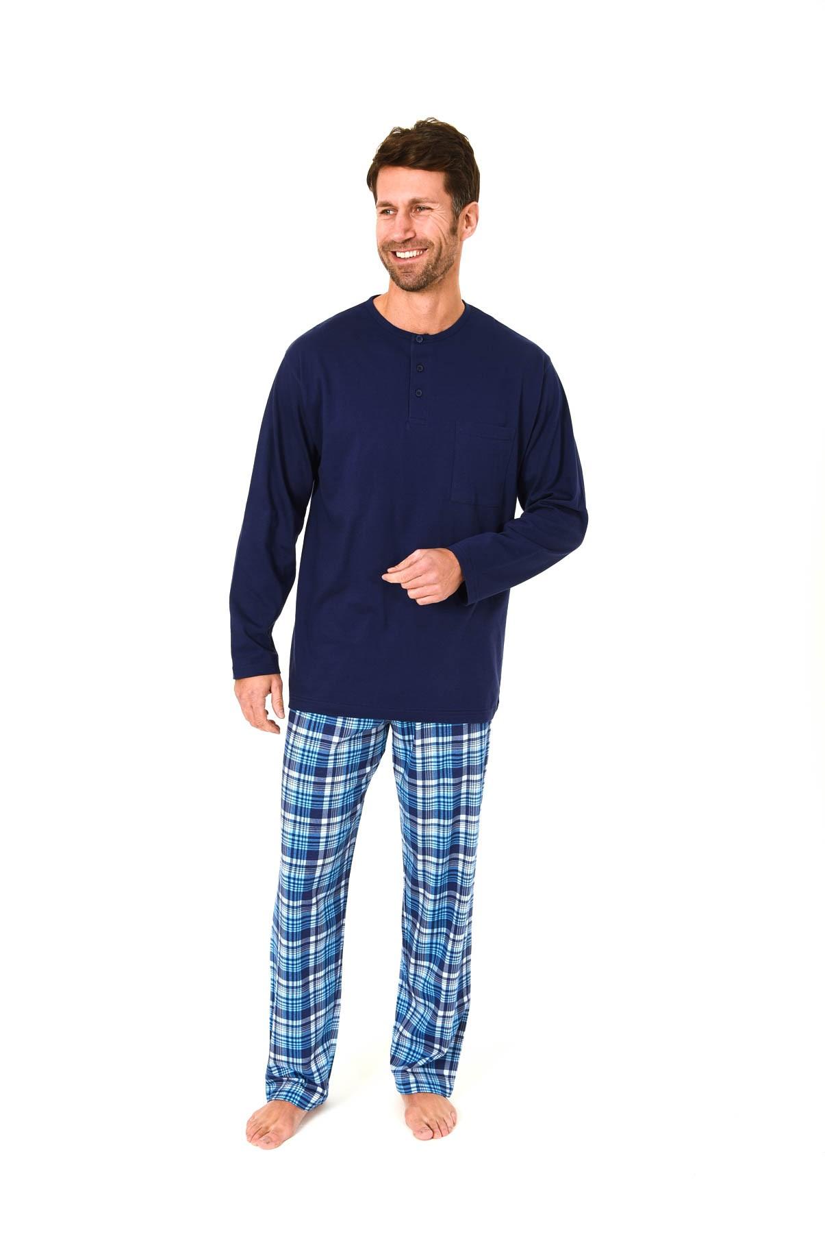 Lässiger Herren Pyjama langarm karierte Hose aus Single Jersey – 58557 001